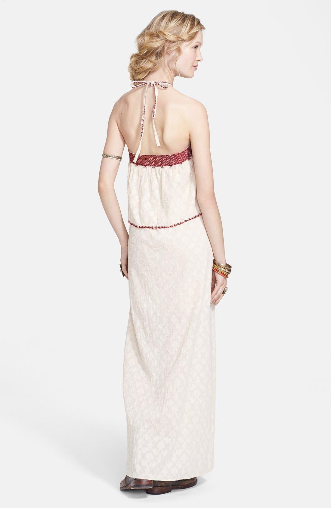Alternate Image 2  - Free People 'Marrakesh' Lace Trim Jacquard Halter Maxi Dress