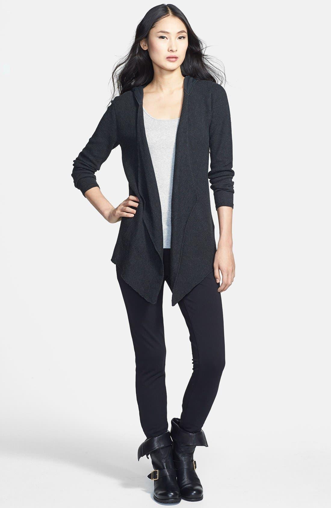 Alternate Image 3  - Eileen Fisher Drape Front Hooded Organic Cotton Cardigan