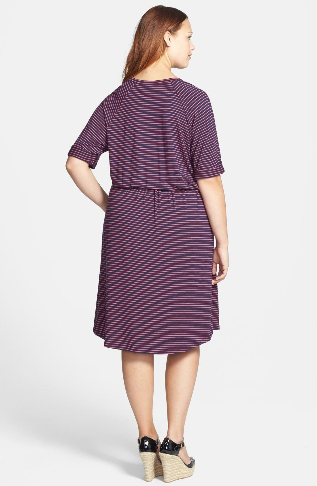 Alternate Image 2  - Caslon® Three Quarter Sleeve Knit Dress (Plus Size)
