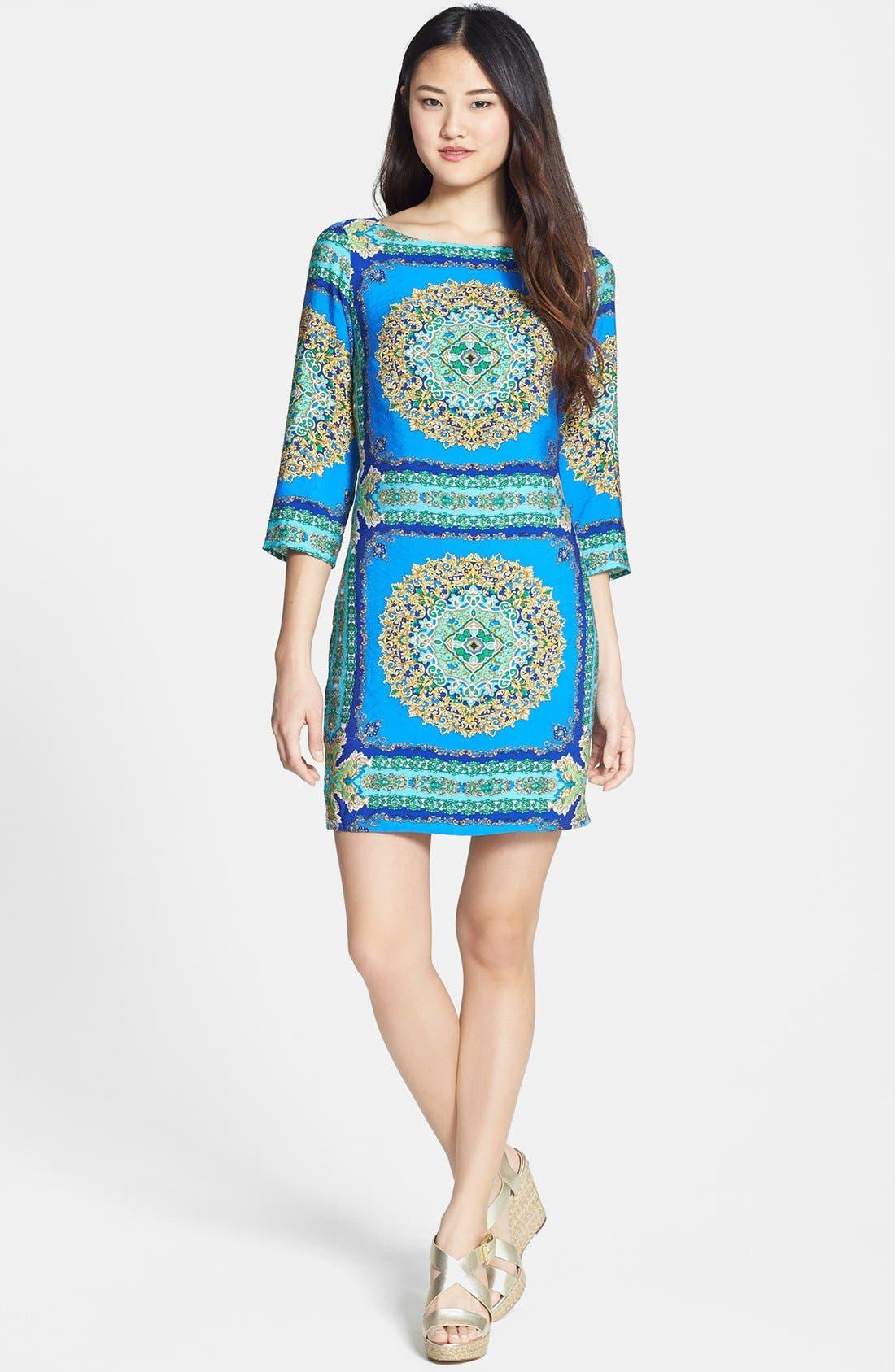 Alternate Image 2  - Laundry by Shelli Segal Print Jersey Shift Dress (Regular & Petite)