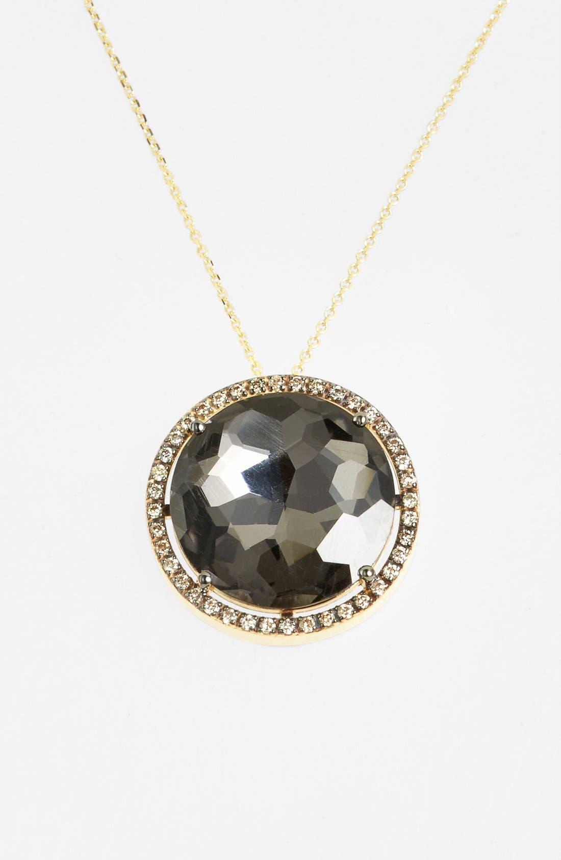 Diamond & Stone Pendant Necklace, Yellow Gold/ Black Quartz