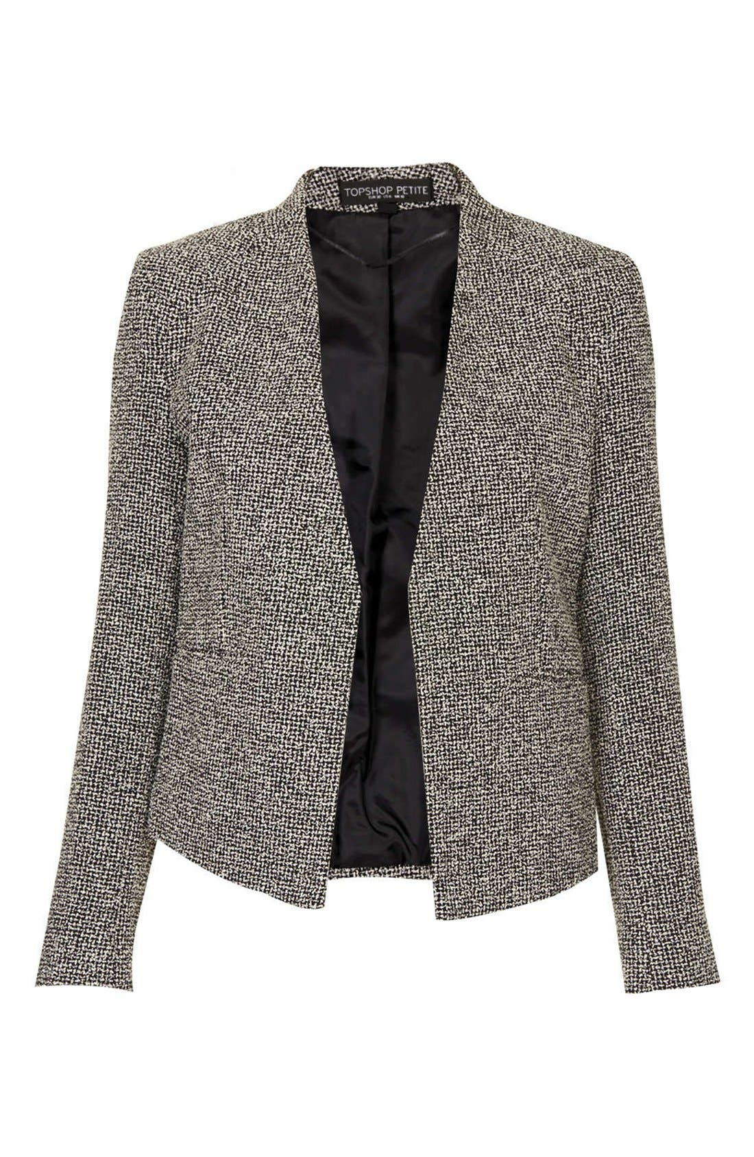 Alternate Image 3  - Topshop 'Bonnie' Collarless Textured Blazer (Petite)
