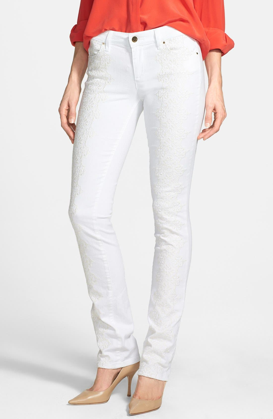Alternate Image 1 Selected - Rachel Roy Embroidered Stretch Cotton Skinny Jeans (Natural White)