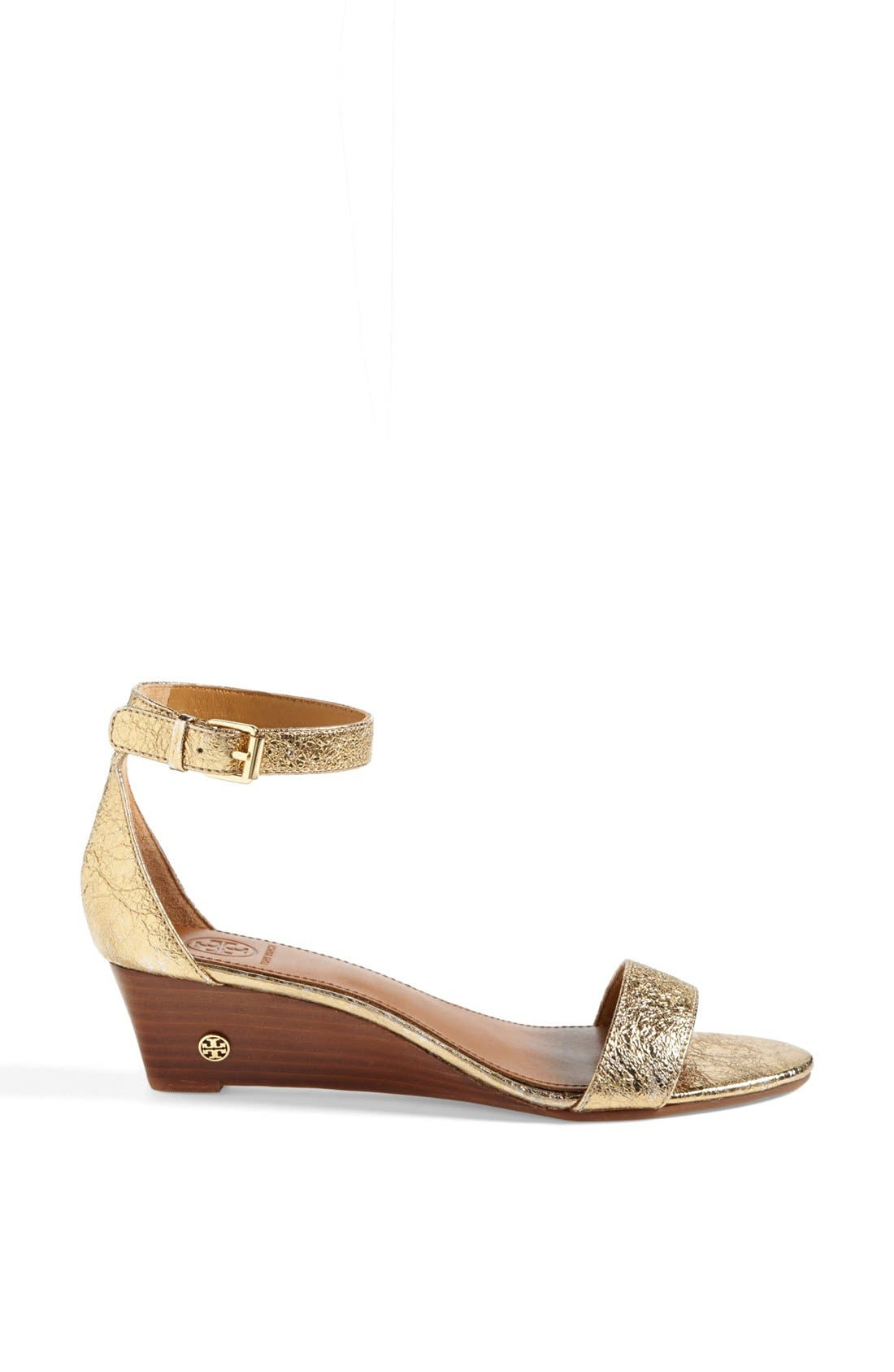 'Savannah' Wedge Sandal,                             Alternate thumbnail 4, color,                             Gold