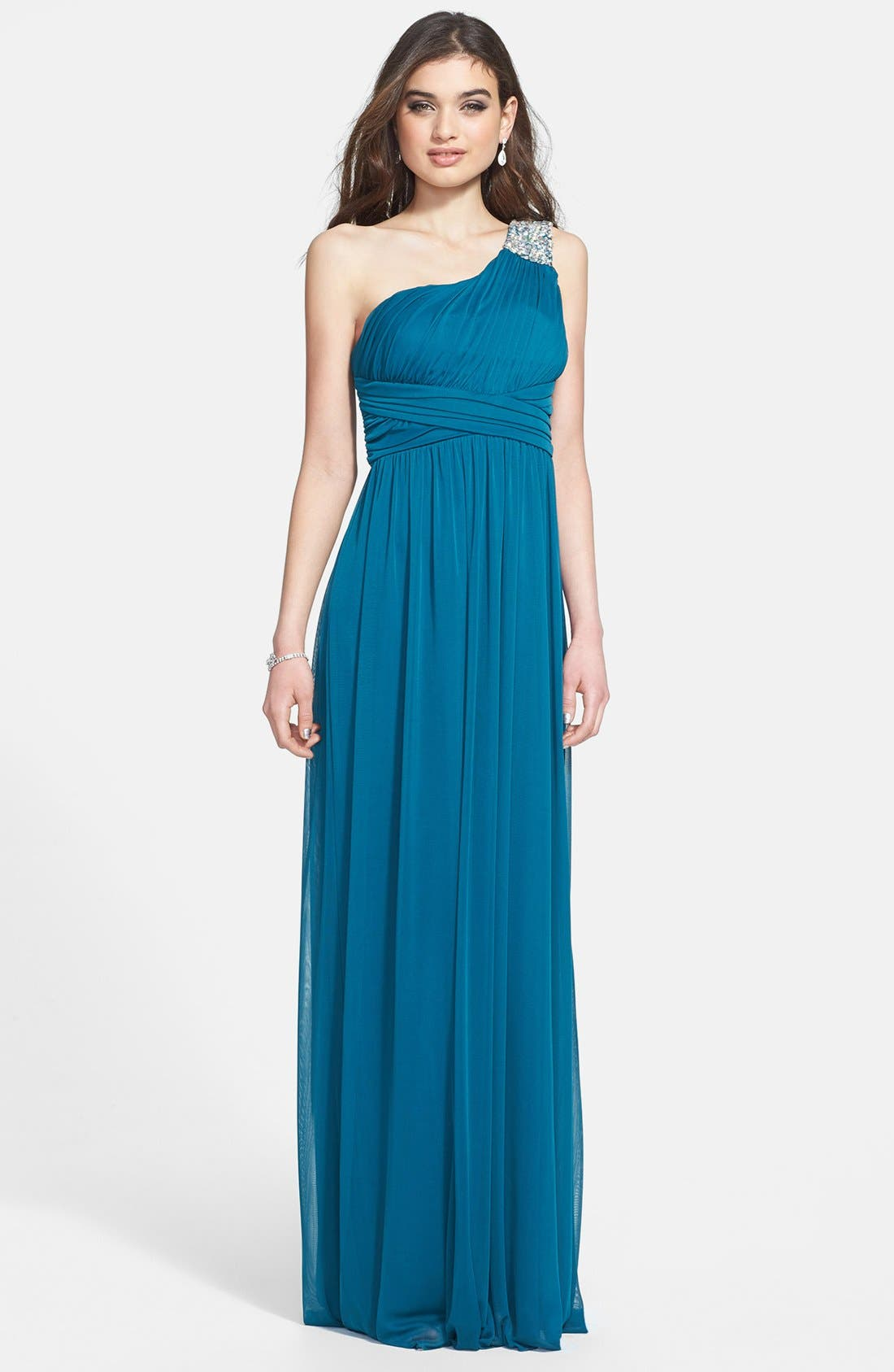 Alternate Image 1 Selected - Way-In Embellished One-Shoulder Mesh Gown (Juniors)