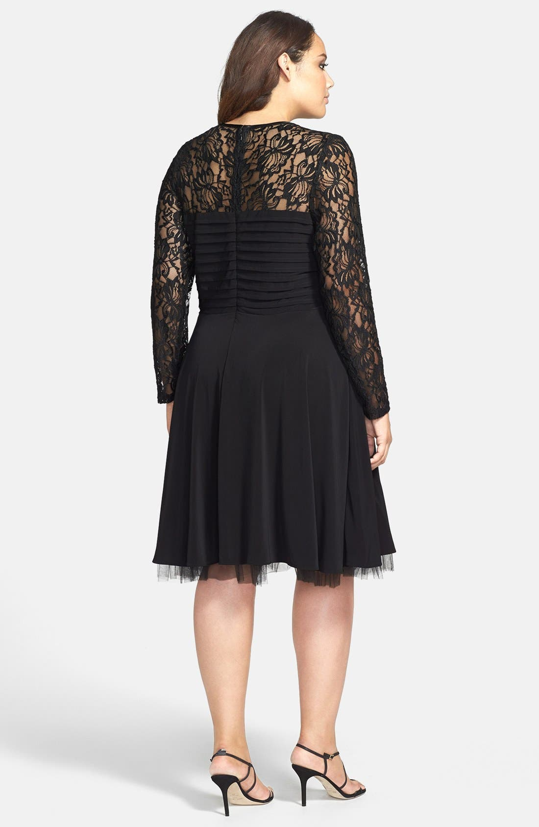 Alternate Image 2  - Betsy & Adam Lace Overlay Fit & Flare Dress (Plus Size)
