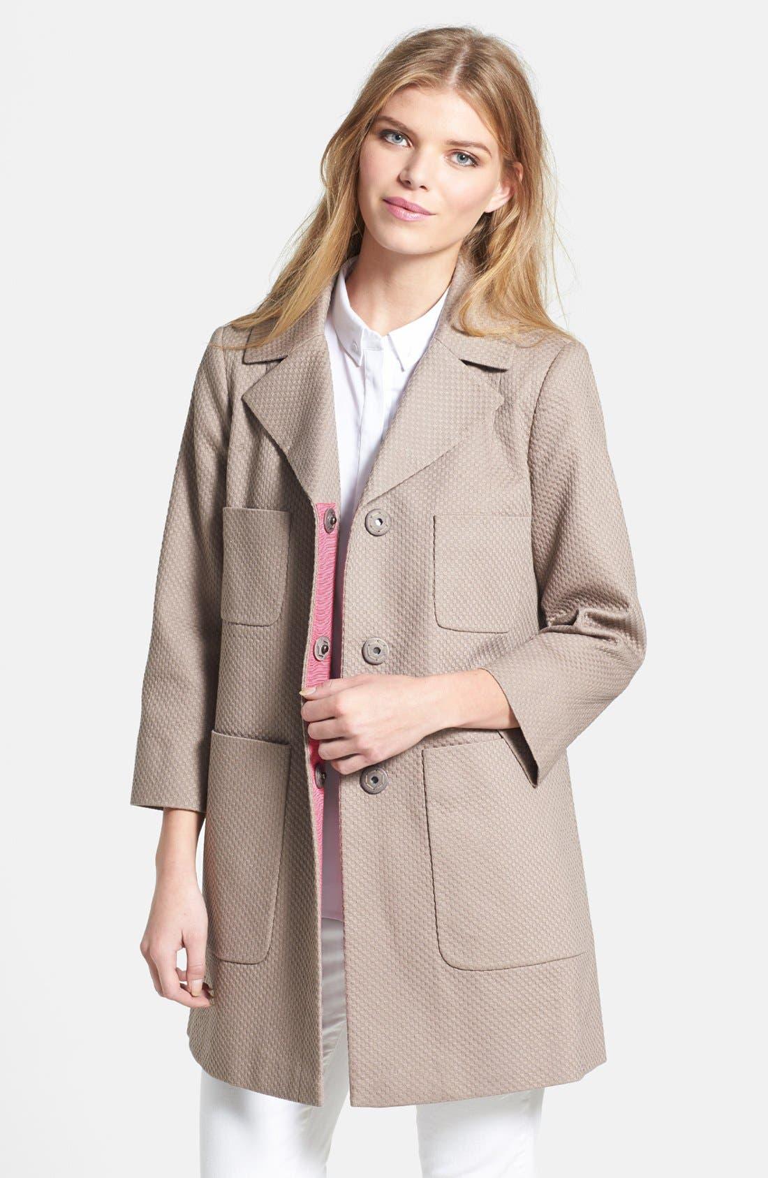 Alternate Image 1 Selected - T Tahari 'Acacia' Piqué Walking Coat
