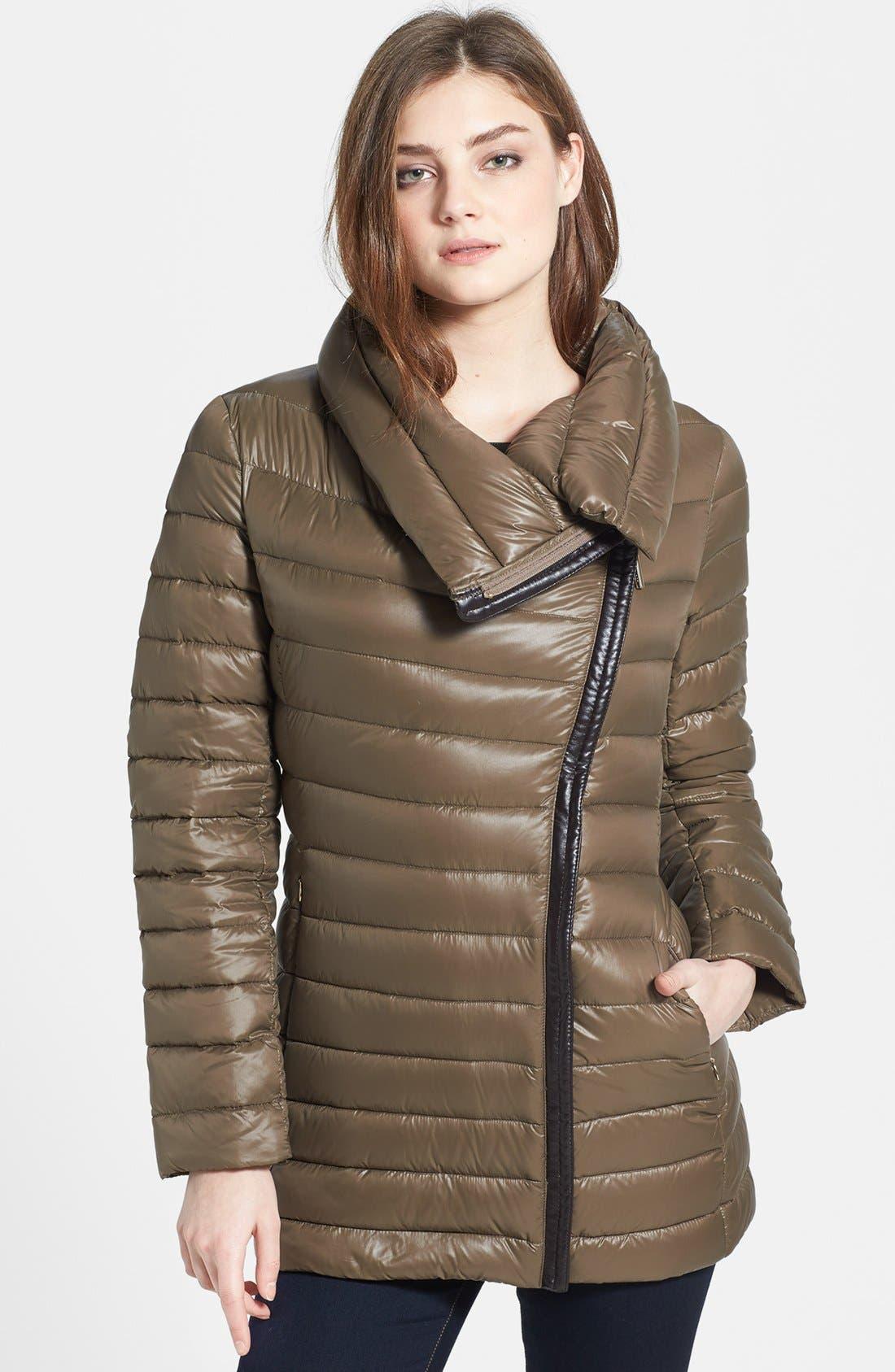 Alternate Image 1 Selected - Calvin Klein Lightweight Asymmetric Down Jacket (Online Only)