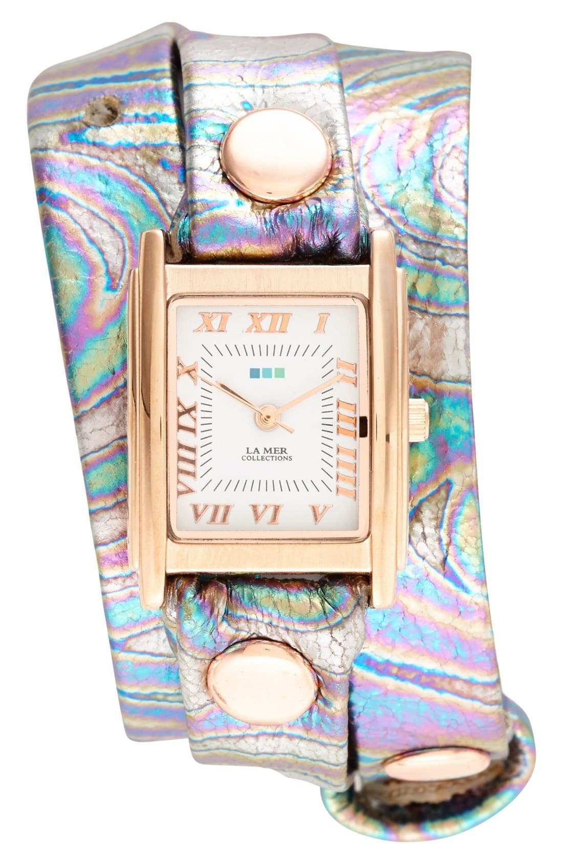 Main Image - La Mer Collections 'Oil Spill' Square Wrap Watch, 22mm