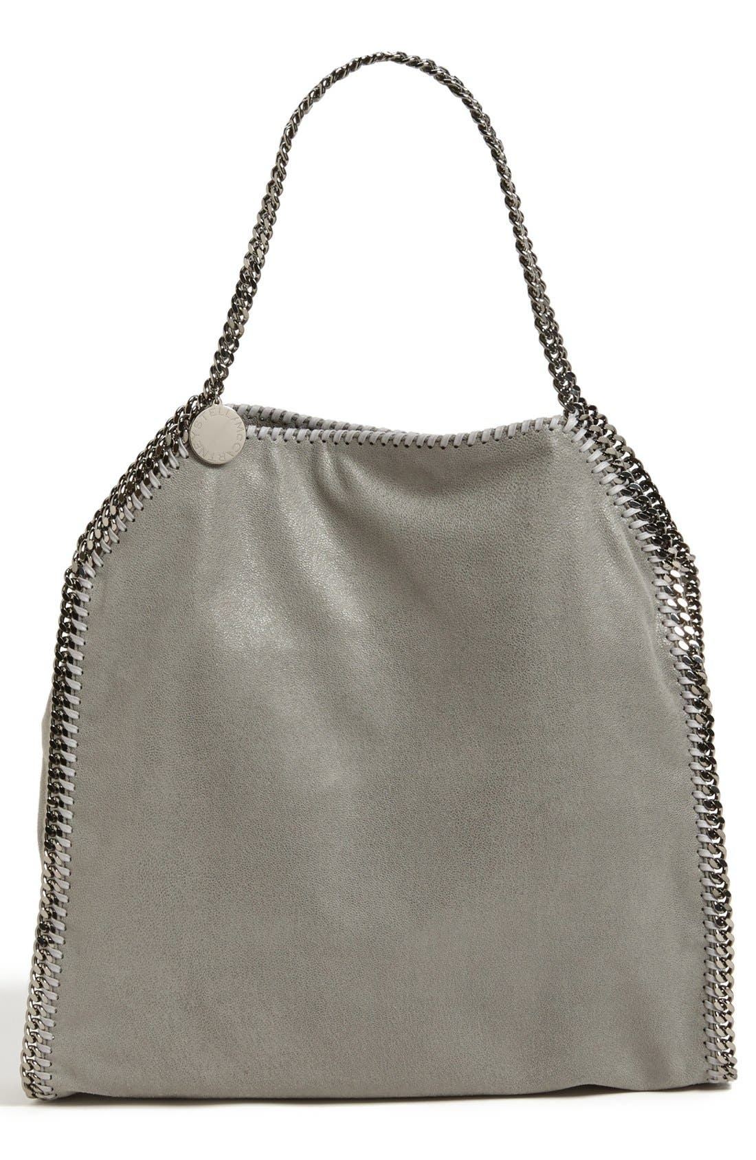 'Large Falabella - Shaggy Deer' Faux Leather Tote,                             Main thumbnail 1, color,                             Lt.Grey