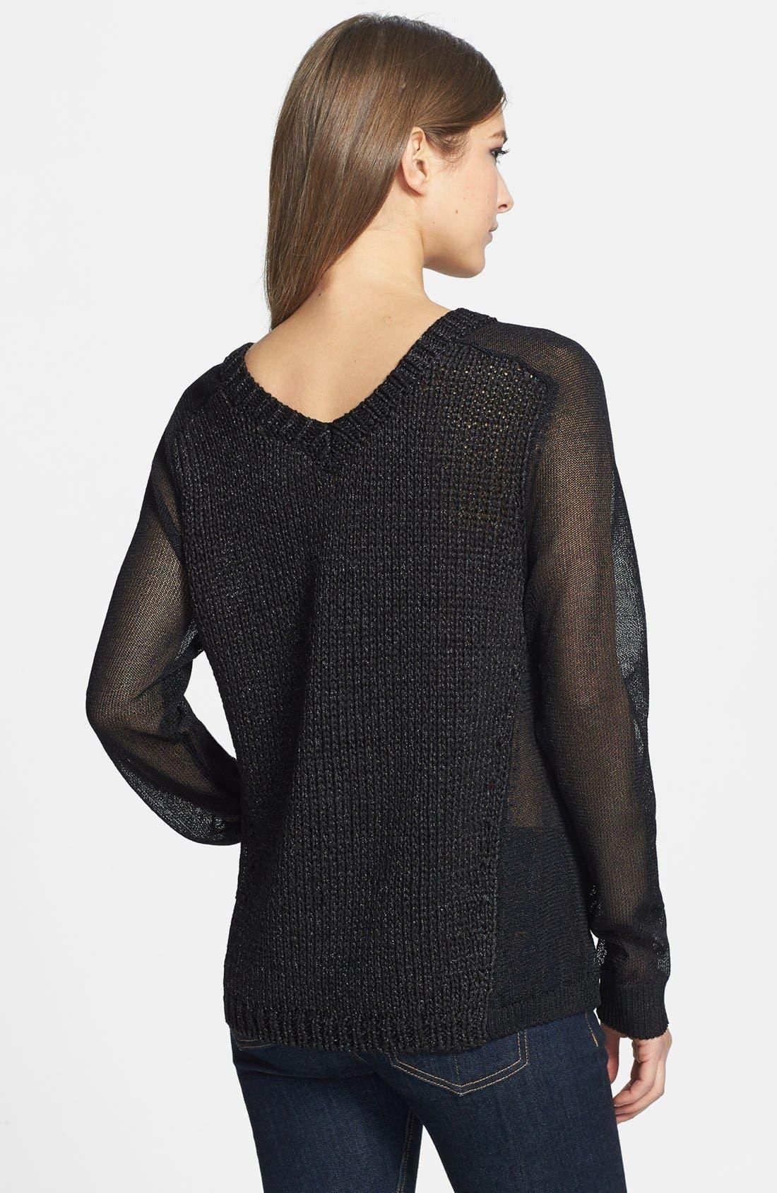 Alternate Image 2  - Trouvé Sheer Panel V-Neck Sweater