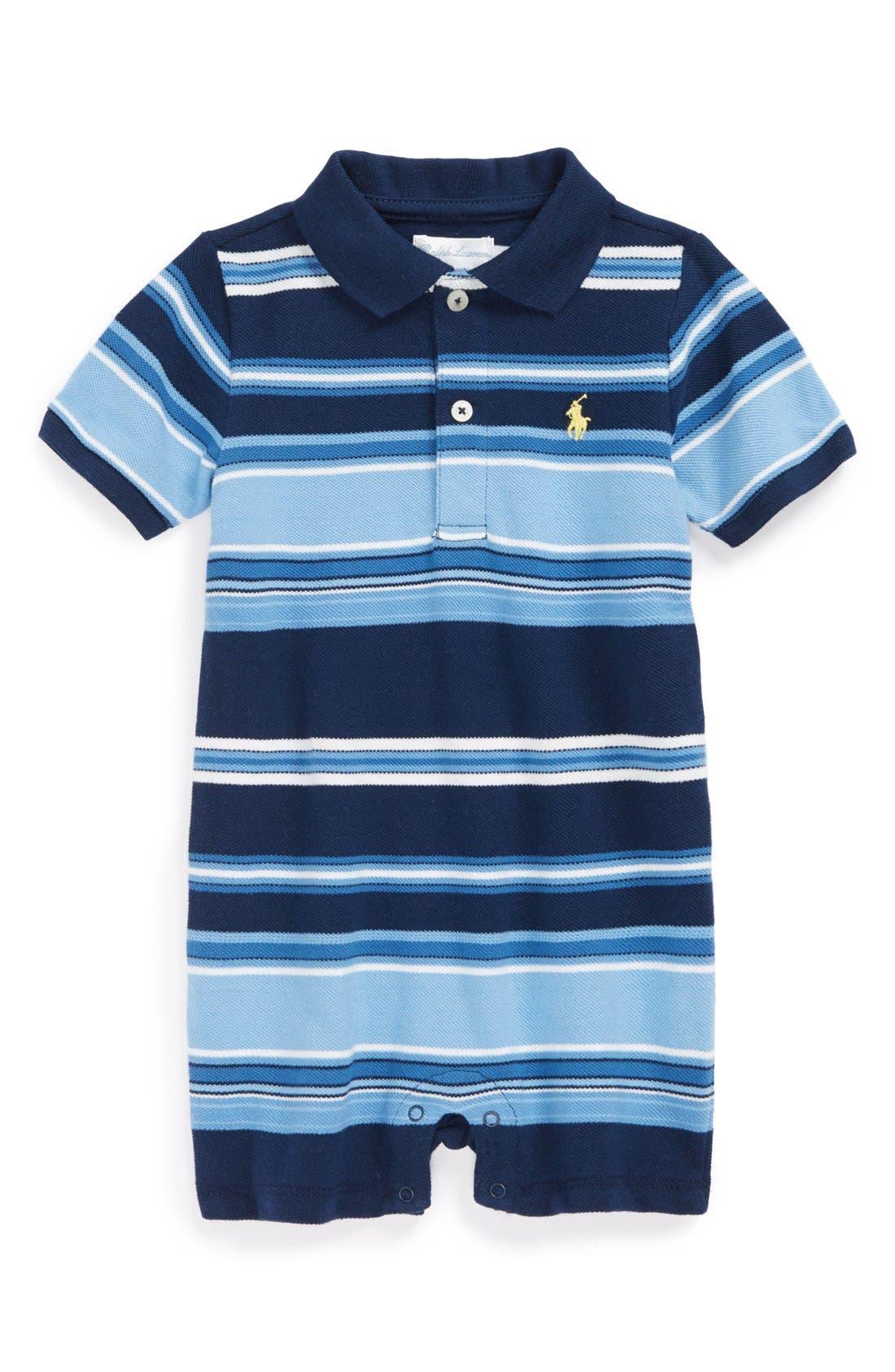 Alternate Image 1 Selected - Ralph Lauren Stripe Cotton Romper (Baby Boys)