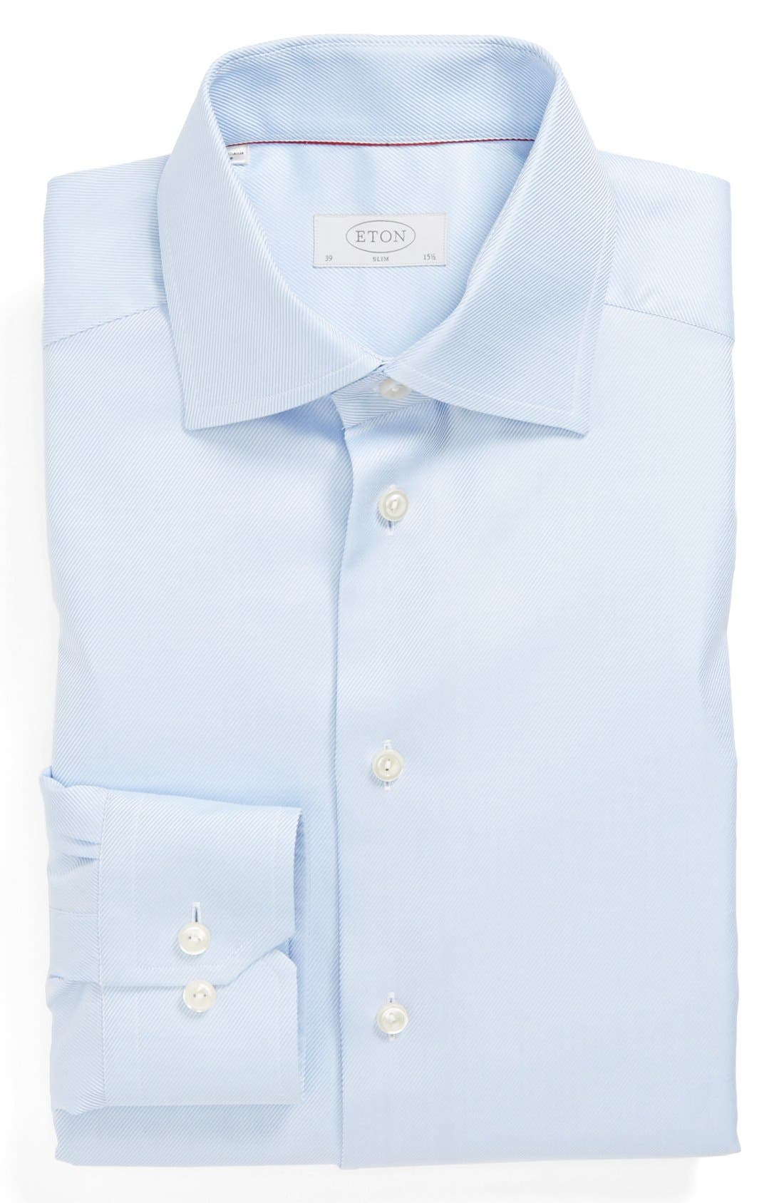Slim Fit Non-Iron Dress Shirt,                         Main,                         color, Blue