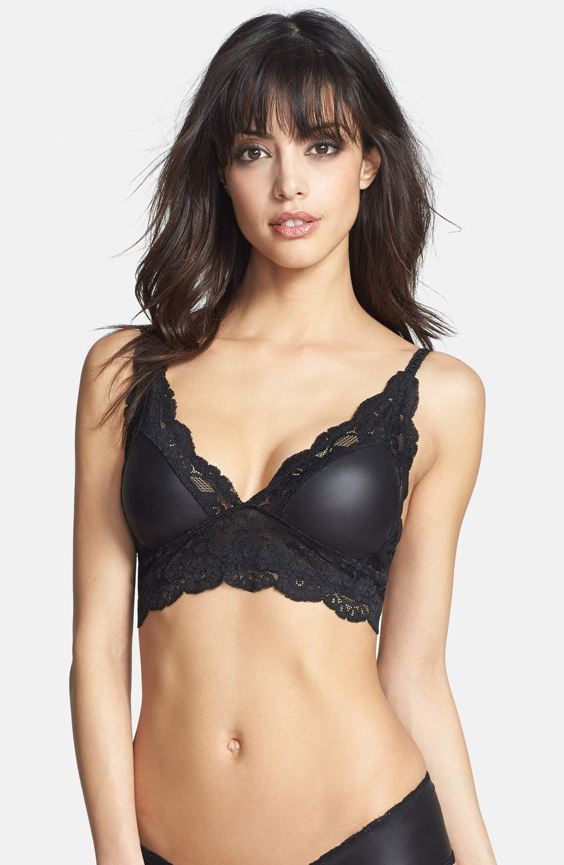 Main Image - Les Coquines 'Jolie' Faux Leather & Lace Bralette