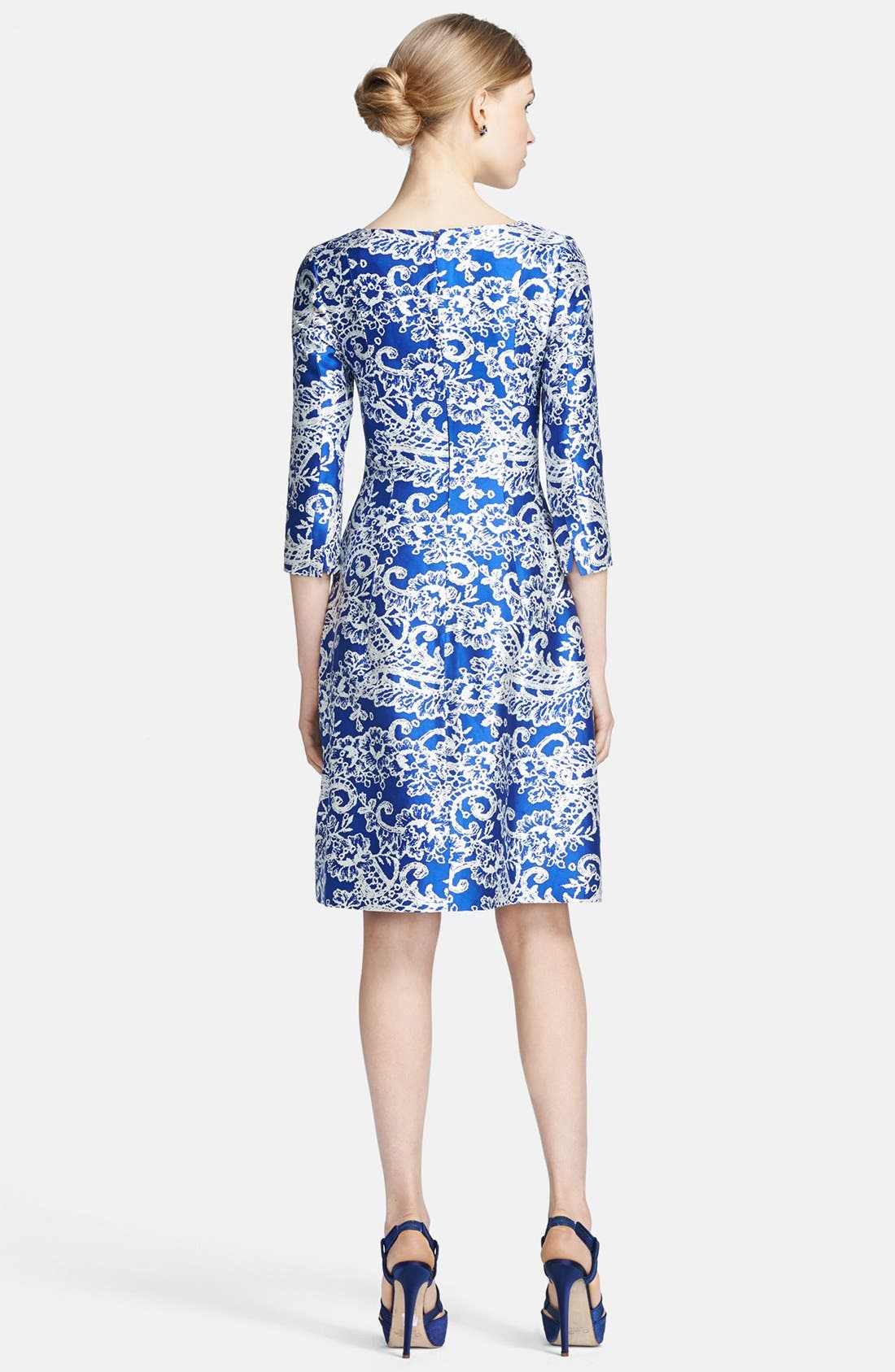 Alternate Image 2  - Oscar de la Renta Print Silk & Cotton Dress