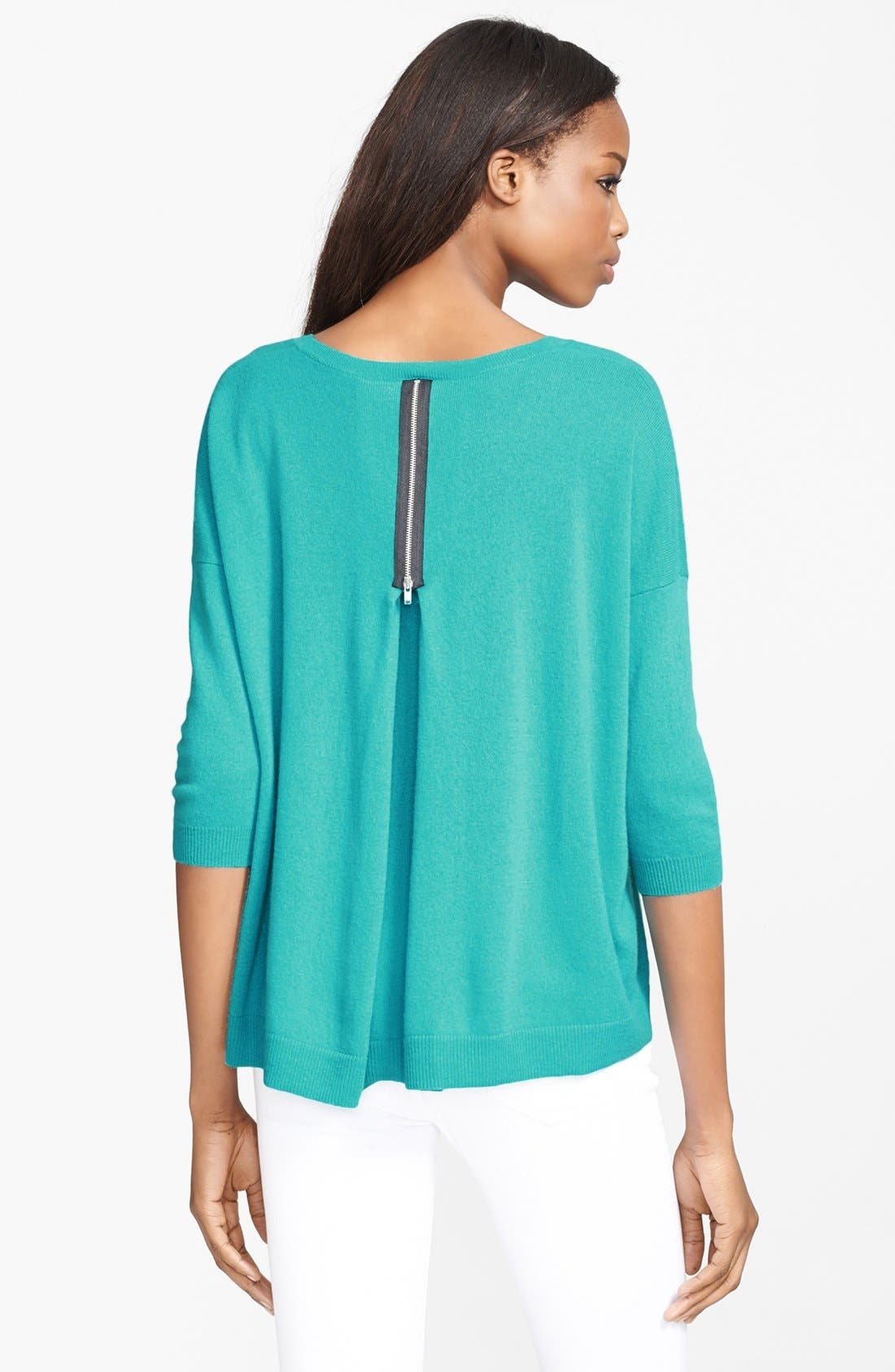 Alternate Image 2  - autumn cashmere Pleat Back Zip Cashmere Sweater