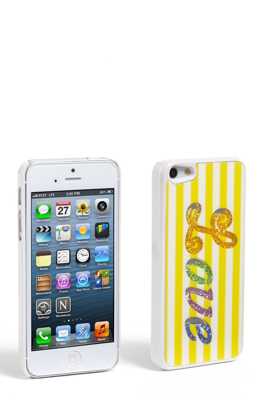Alternate Image 1 Selected - Tri-Coastal Design 'Love' Loose Beads Stripe iPhone 5 Case (Juniors) (Online Only)