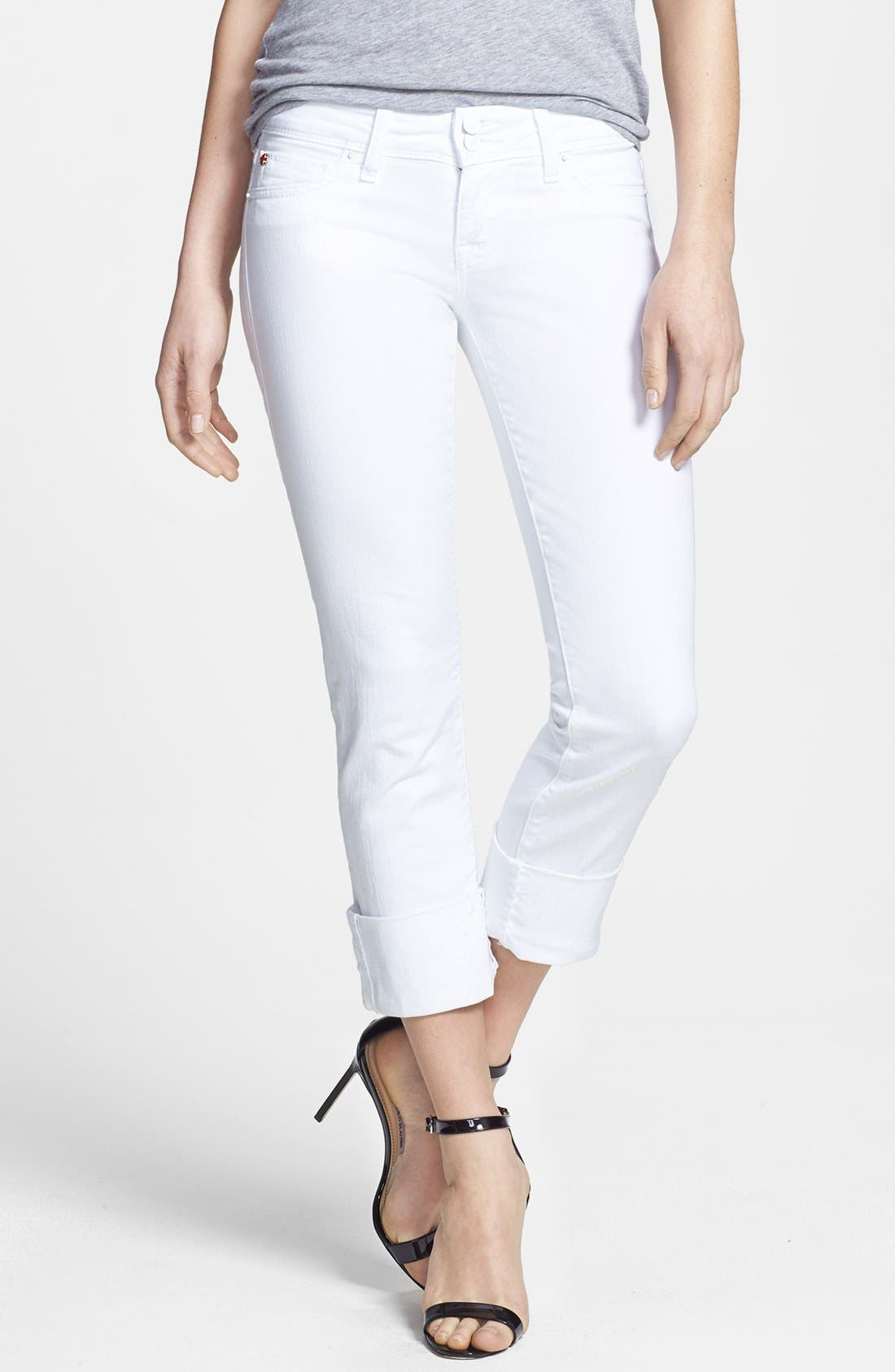 Main Image - Hudson Jeans 'Ginny Crop' Stretch Skinny Jeans (White)
