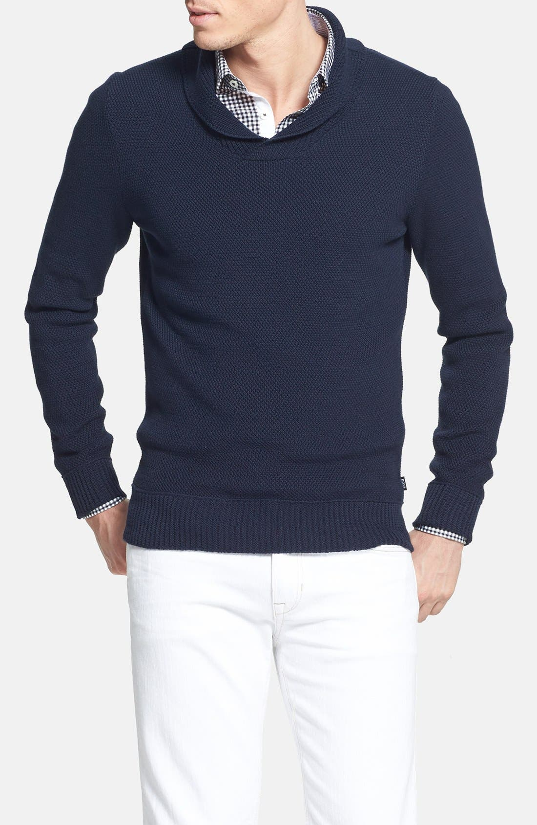 Main Image - BOSS HUGO BOSS 'Pivot' Slim Fit Shawl Collar Sweater
