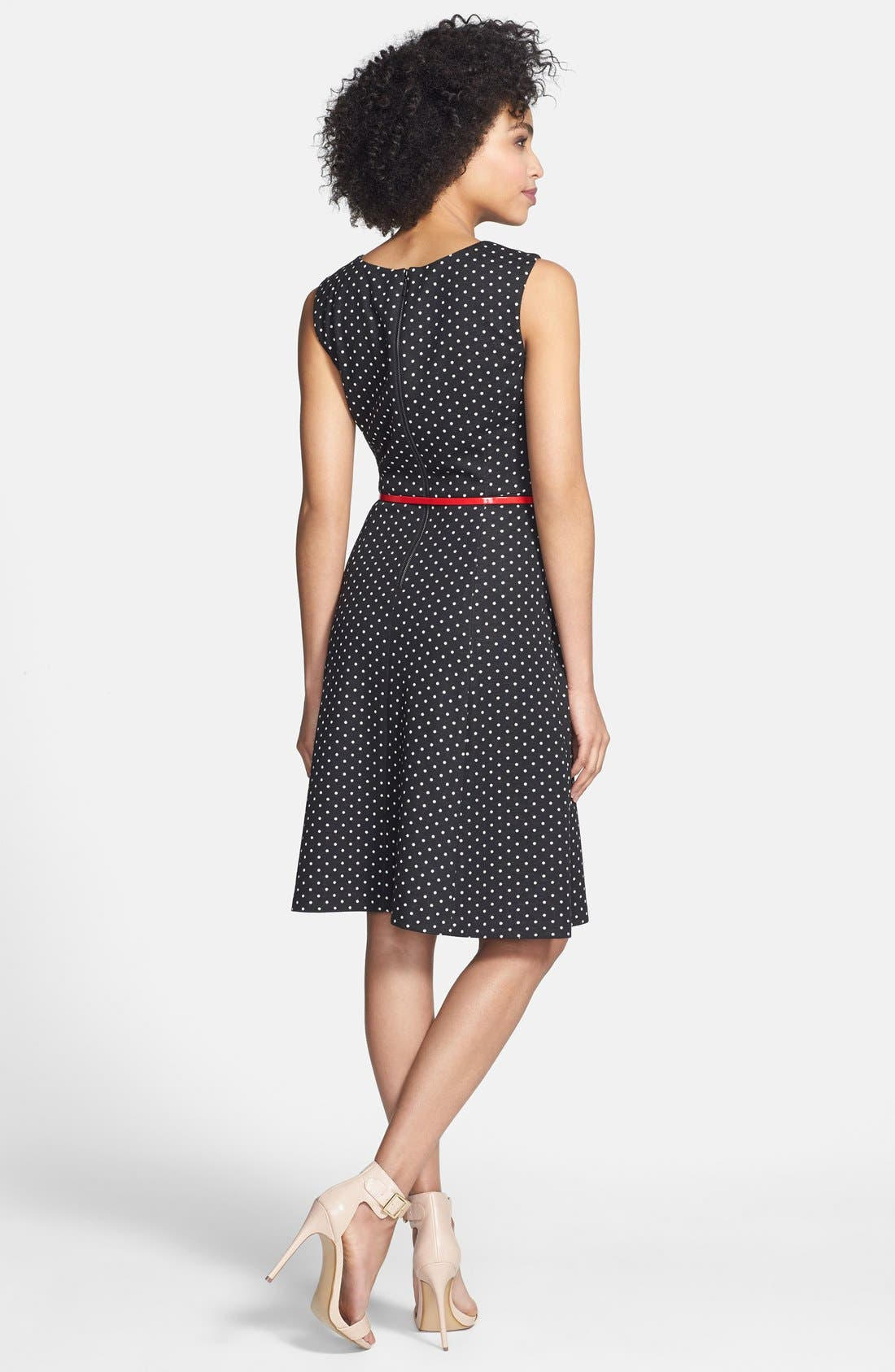 Alternate Image 2  - Anne Klein Belted Polka Dot Ponte Dress (Regular & Petite)