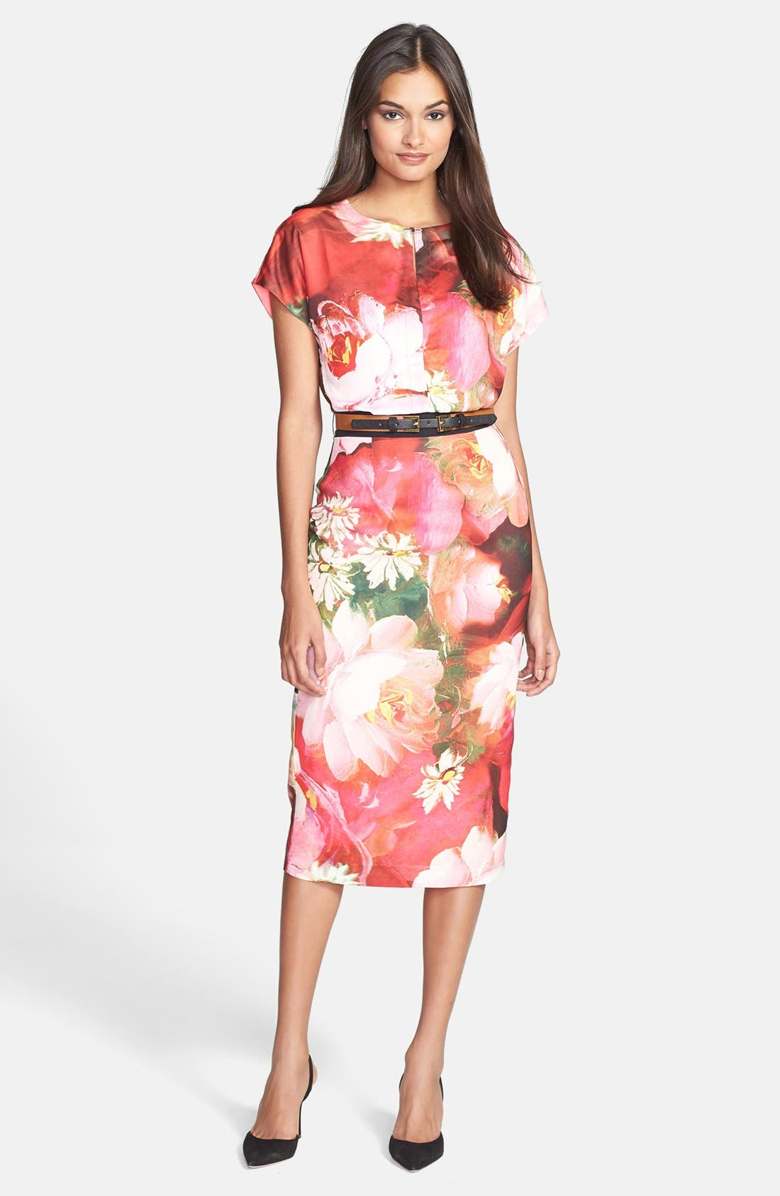 Main Image - Ted Baker London 'Rose on Canvas' Print Midi Dress