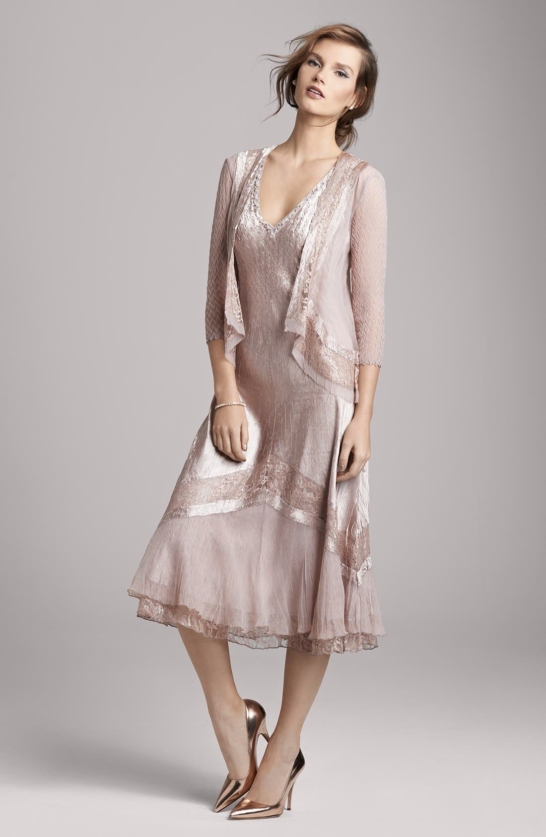 Alternate Image 5  - Komarov Beaded Neck Charmeuse Dress & Jacket (Regular & Petite)