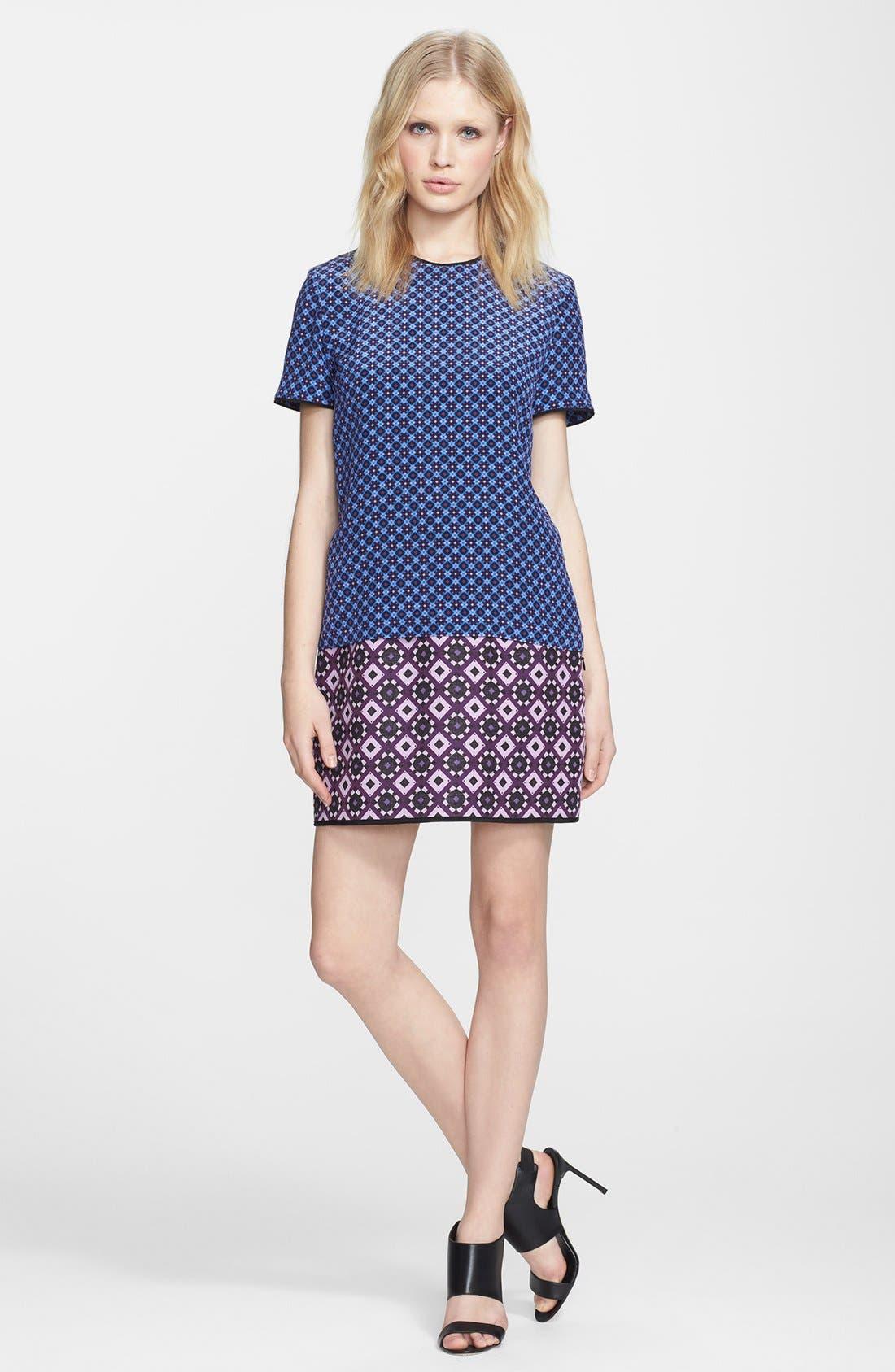 Alternate Image 1 Selected - Victoria, Victoria Beckham Jacquard Hem Shift Dress