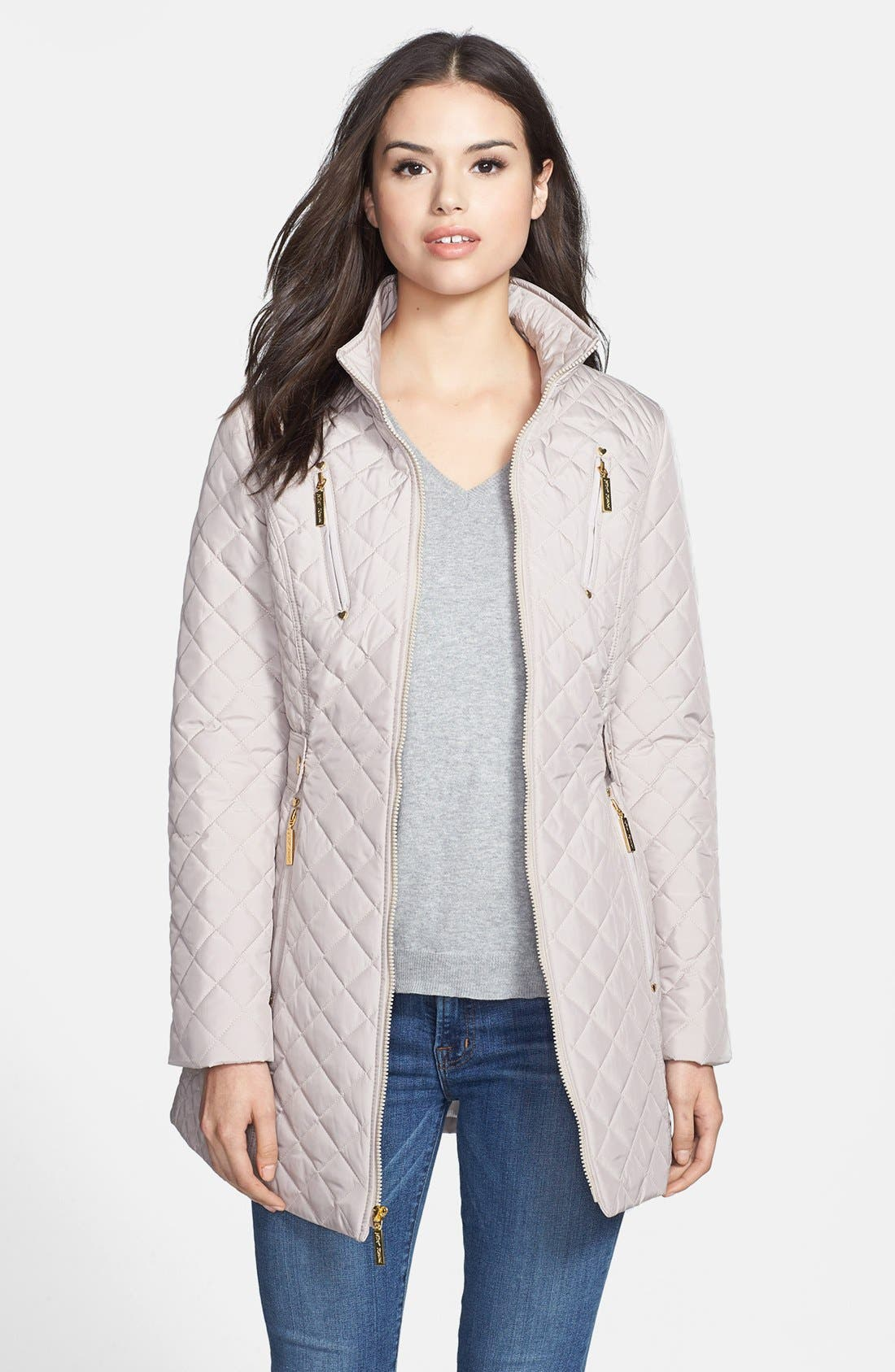 Alternate Image 1 Selected - Betsey Johnson Lace-Up Back Quilted Jacket (Online Only)