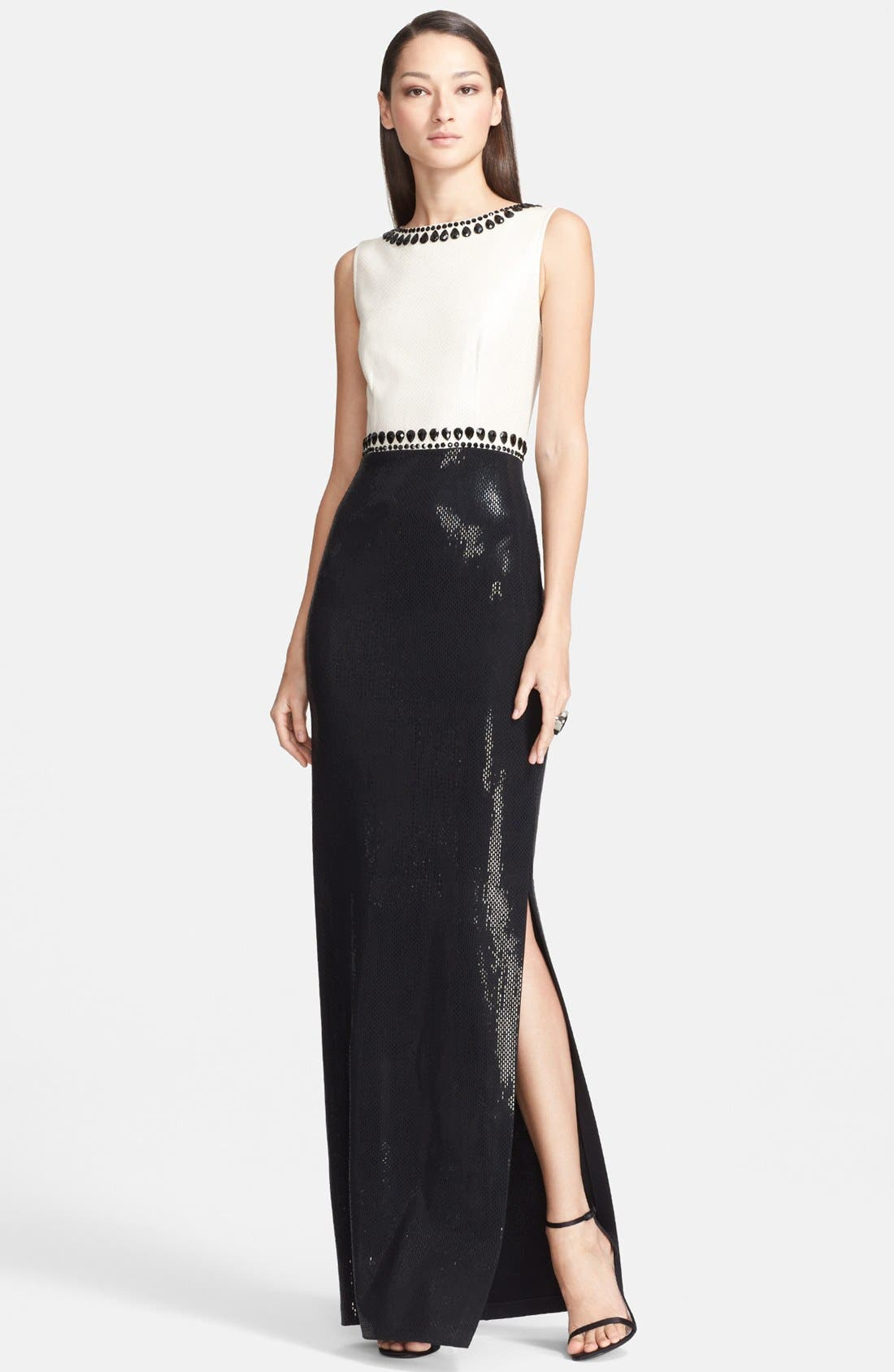 Main Image - St. John Collection Gloss Sequined Milano Knit Gown