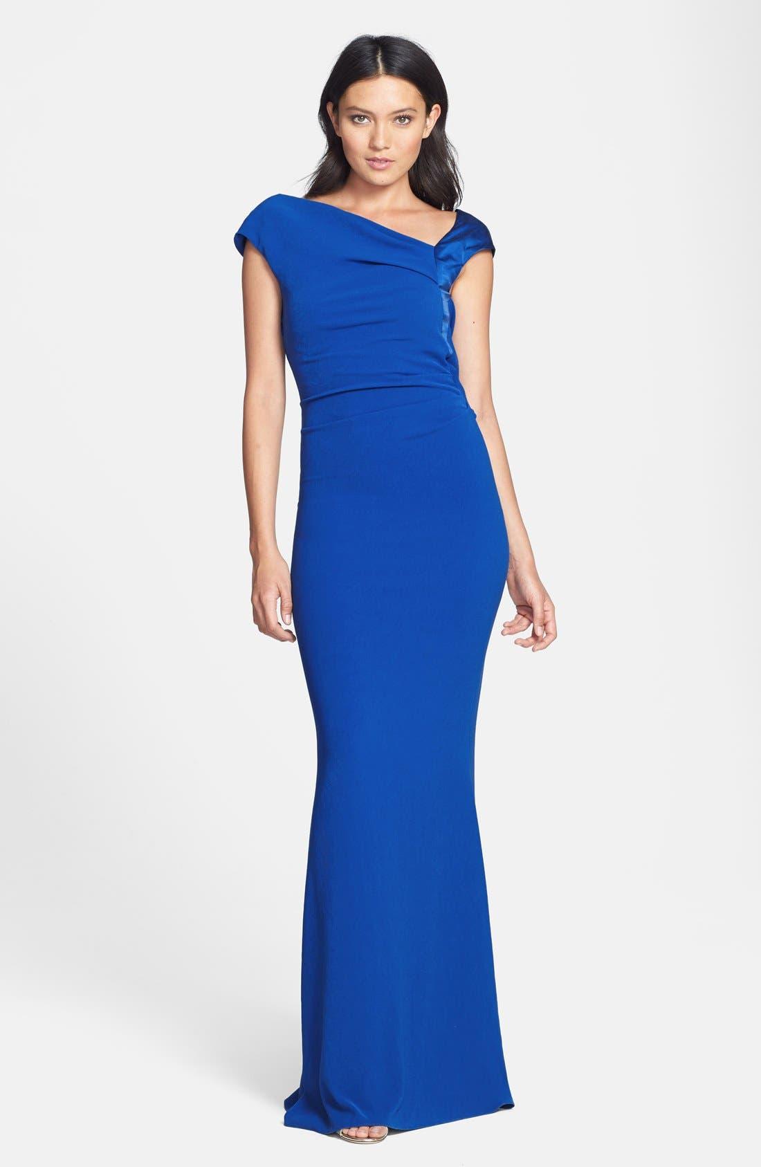 Main Image - Halston Heritage Asymmetrical Neck Crepe Gown