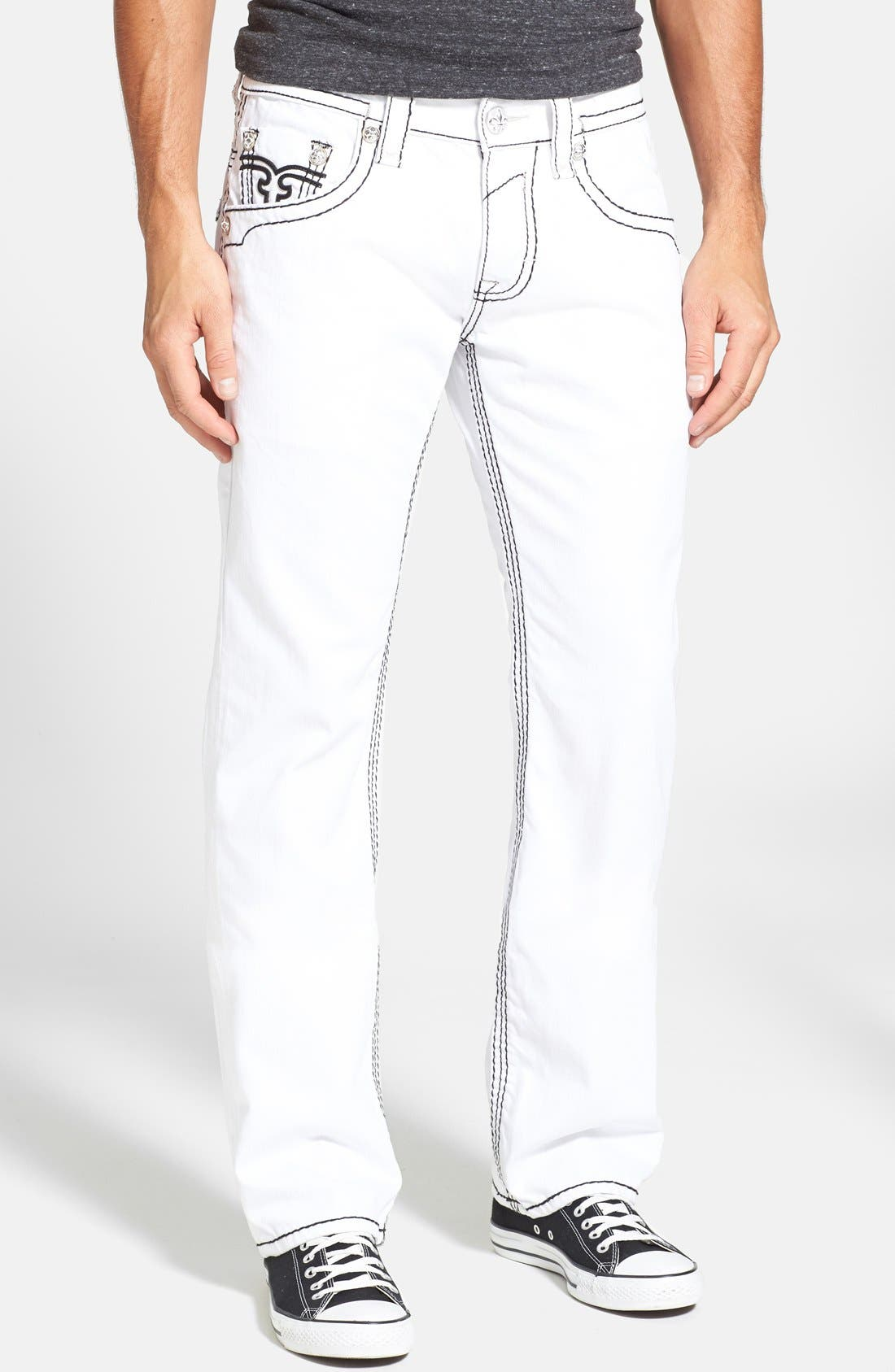 Alternate Image 2  - Rock Revival 'Dan' Straight Leg Jeans (White)