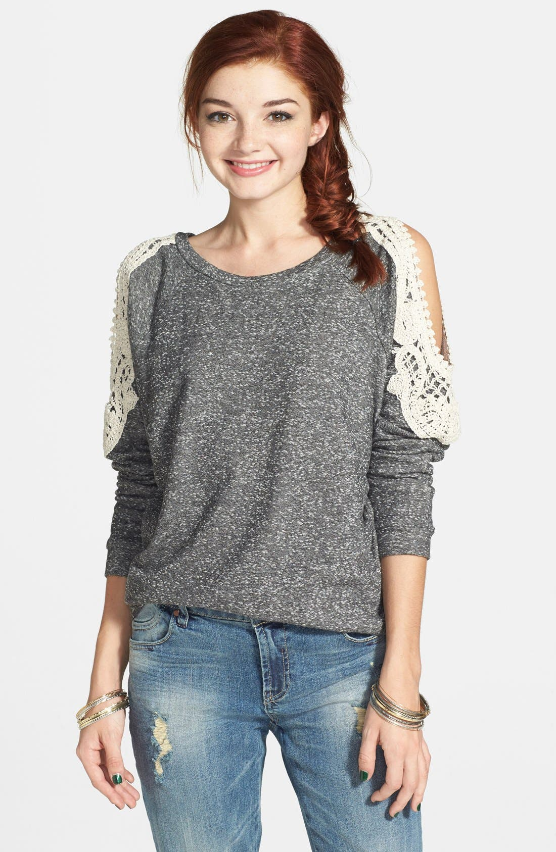 Alternate Image 1 Selected - Haute Society Crochet Detail Cold Shoulder Sweatshirt (Juniors) (Online Only)