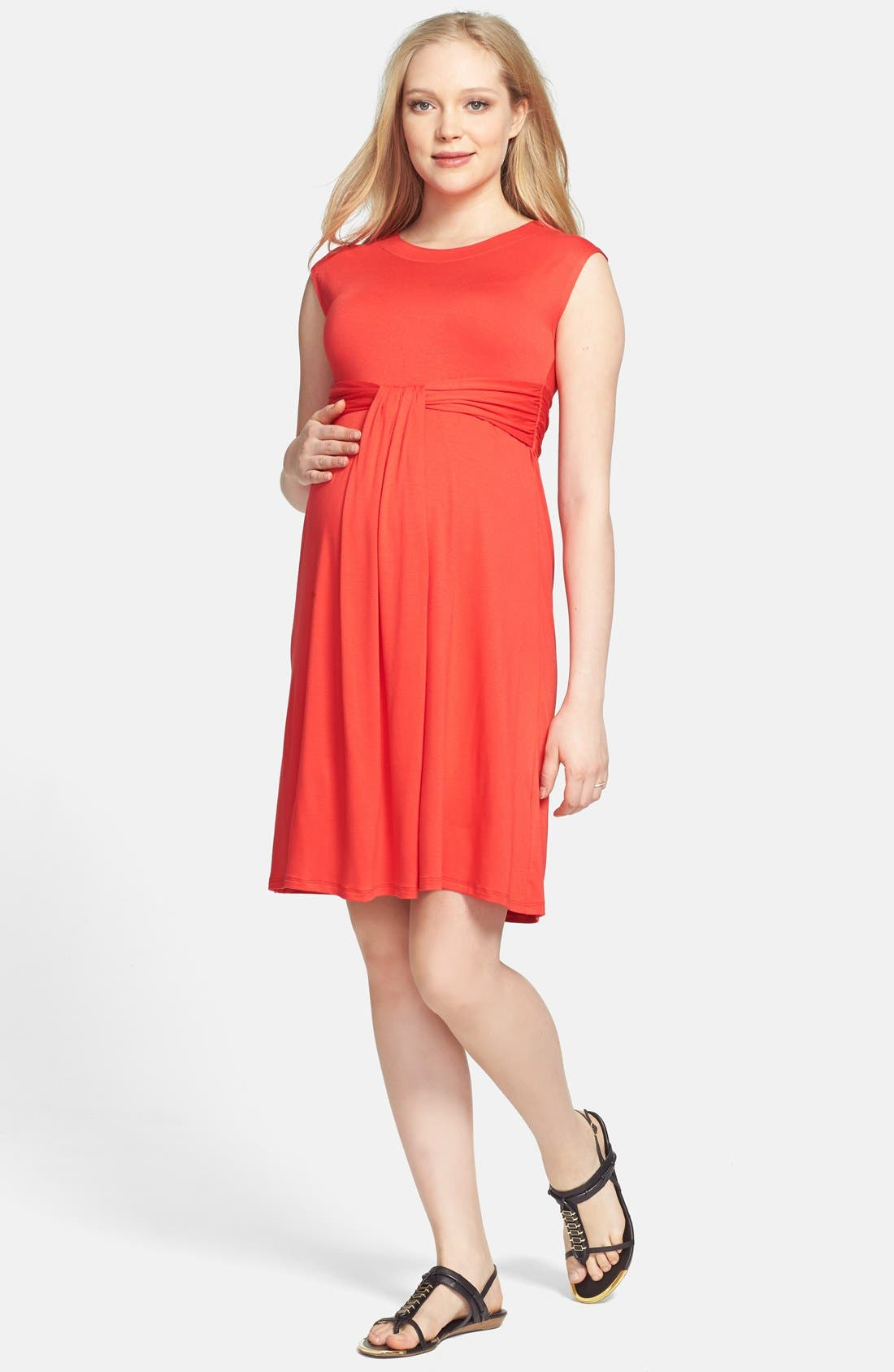 Main Image - Maternal America 'Empire Cascade' Maternity Dress