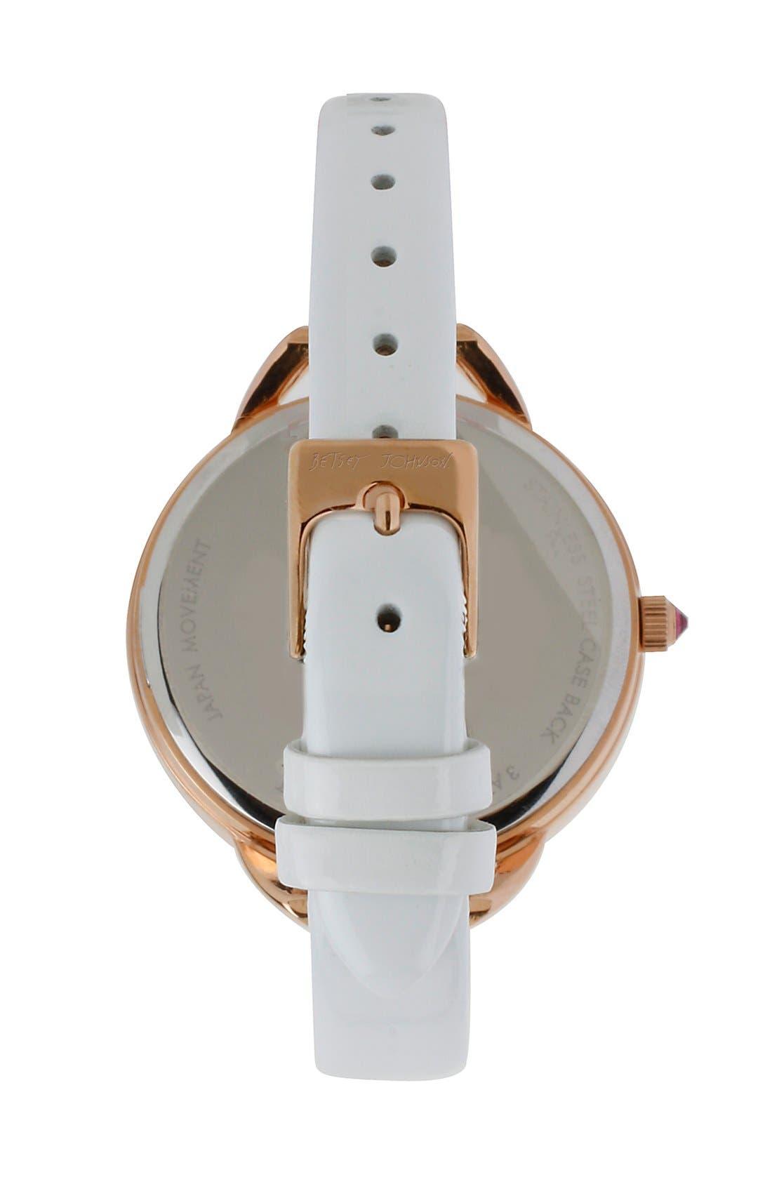 Alternate Image 2  - Betsey Johnson Pavé Heart Dial Leather Strap Watch, 40mm