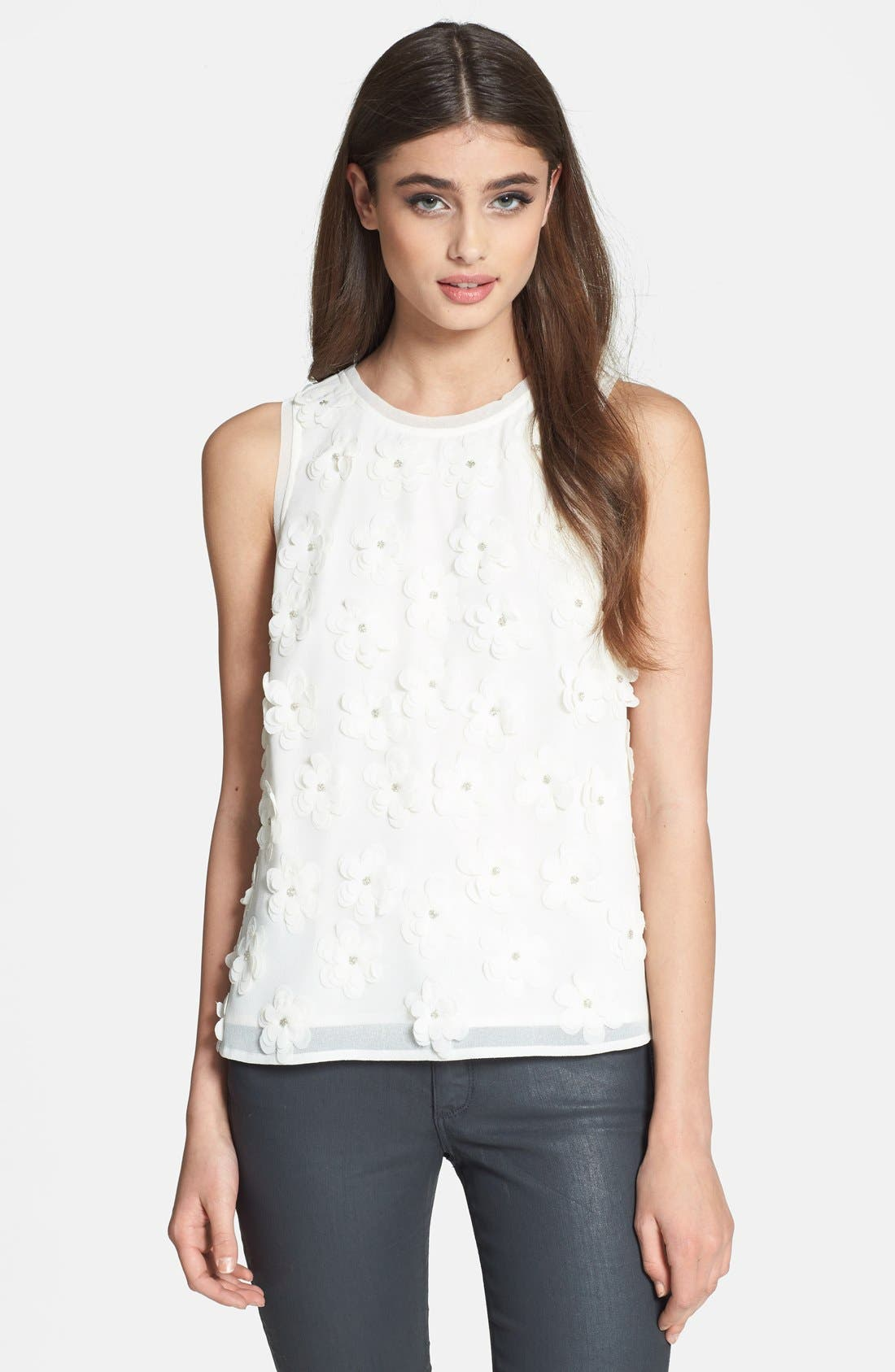 Main Image - Search for Sanity Floral Appliqué Tank