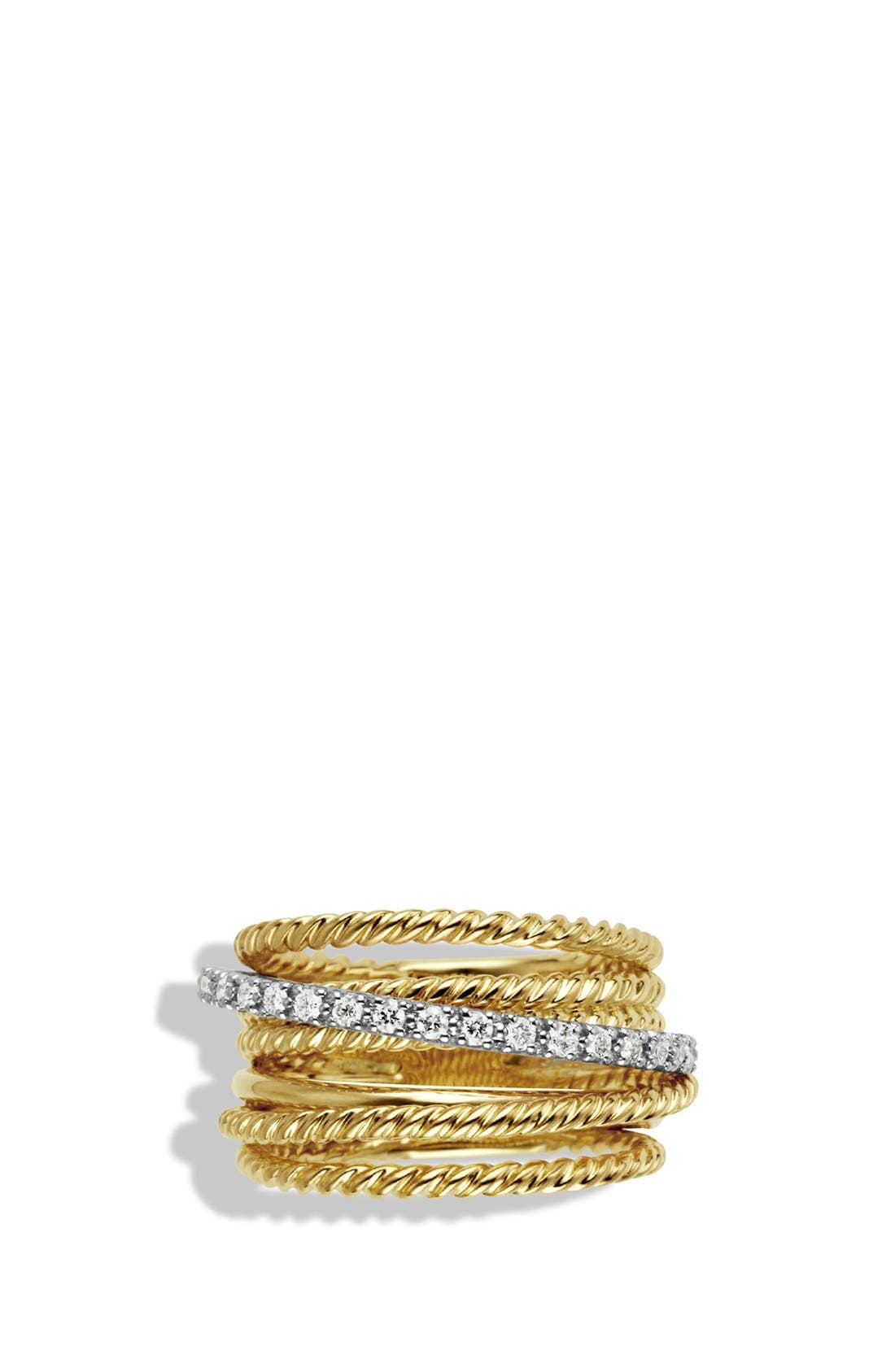'DY Crossover' Ring with Diamonds in Gold,                             Alternate thumbnail 3, color,                             Diamond