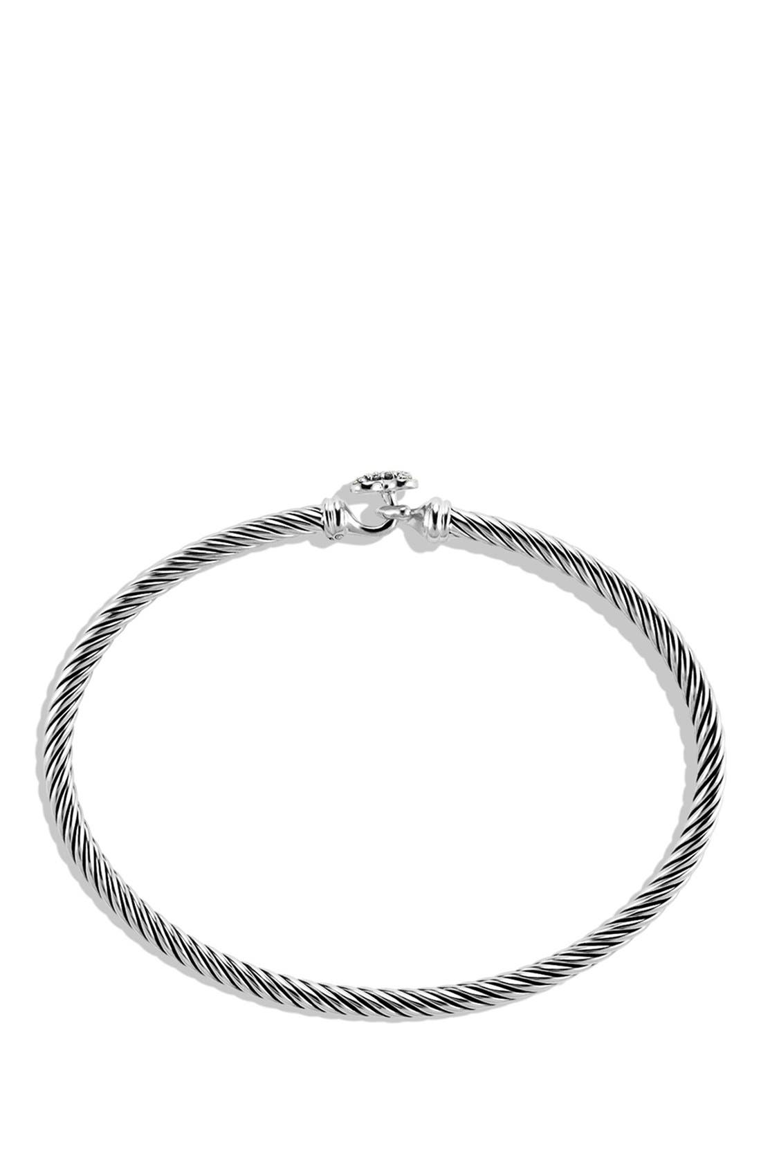 'Cable Collectibles' Diamond Heart Station Bracelet,                             Alternate thumbnail 2, color,                             Diamond