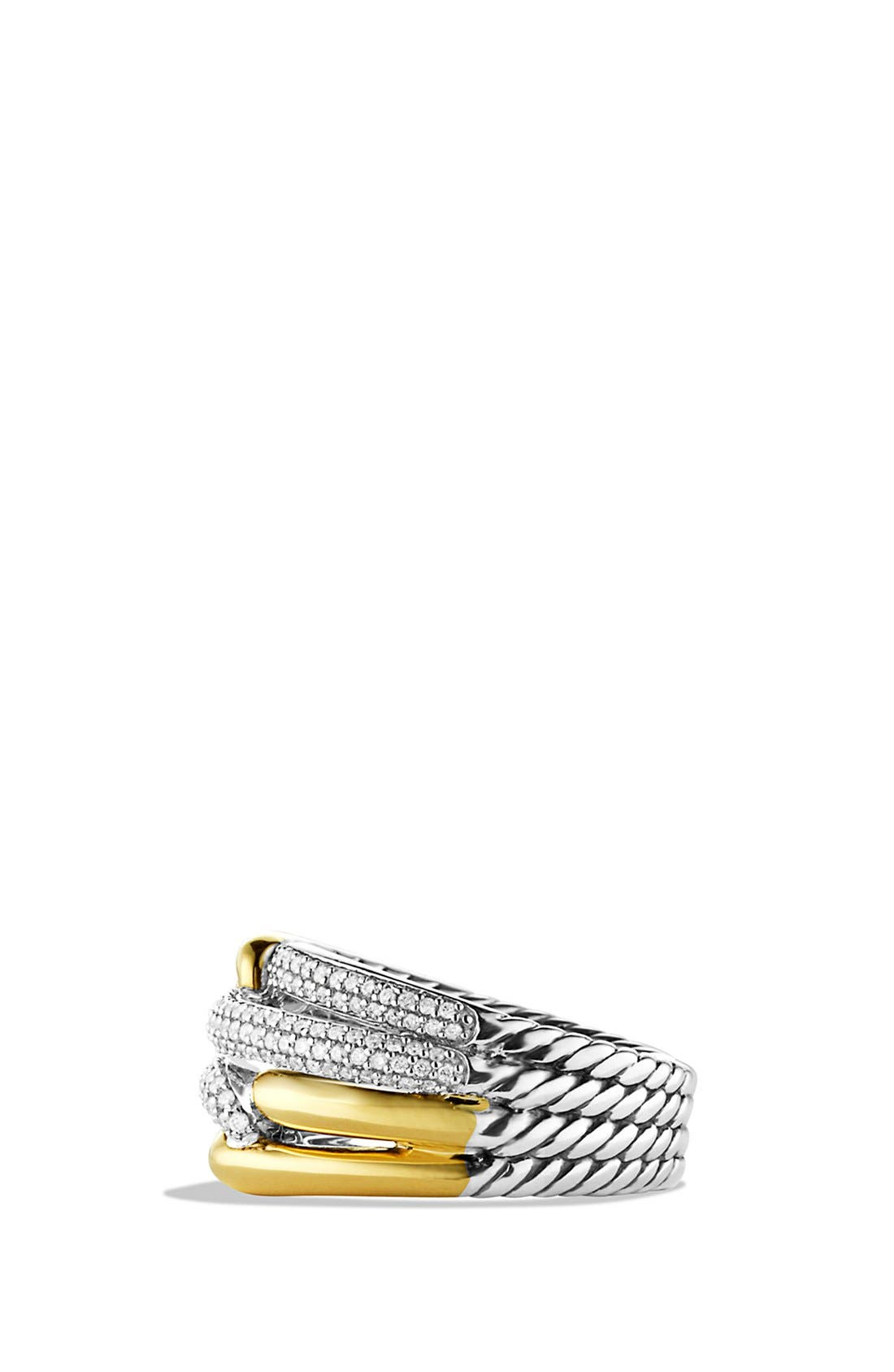 Alternate Image 2  - David Yurman 'Labyrinth' Double Loop Ring with Diamonds and Gold