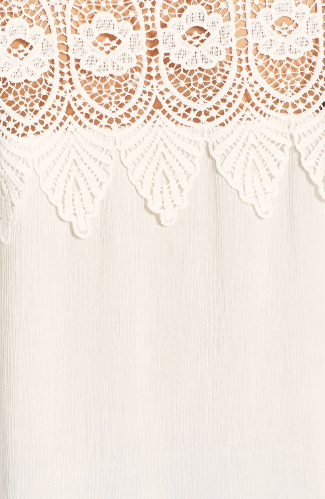 Alternate Image 3  - ASTR Crocheted Shoulder Gauze High/Low Top