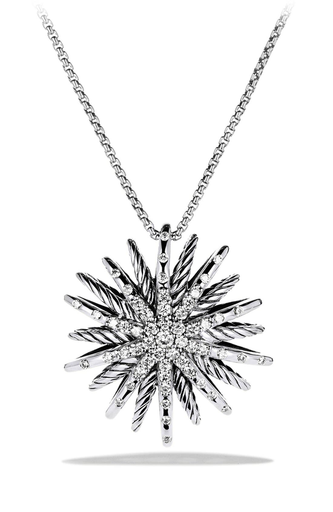 'Starburst' Medium Pendant with Diamonds on Chain,                             Main thumbnail 1, color,                             Diamond