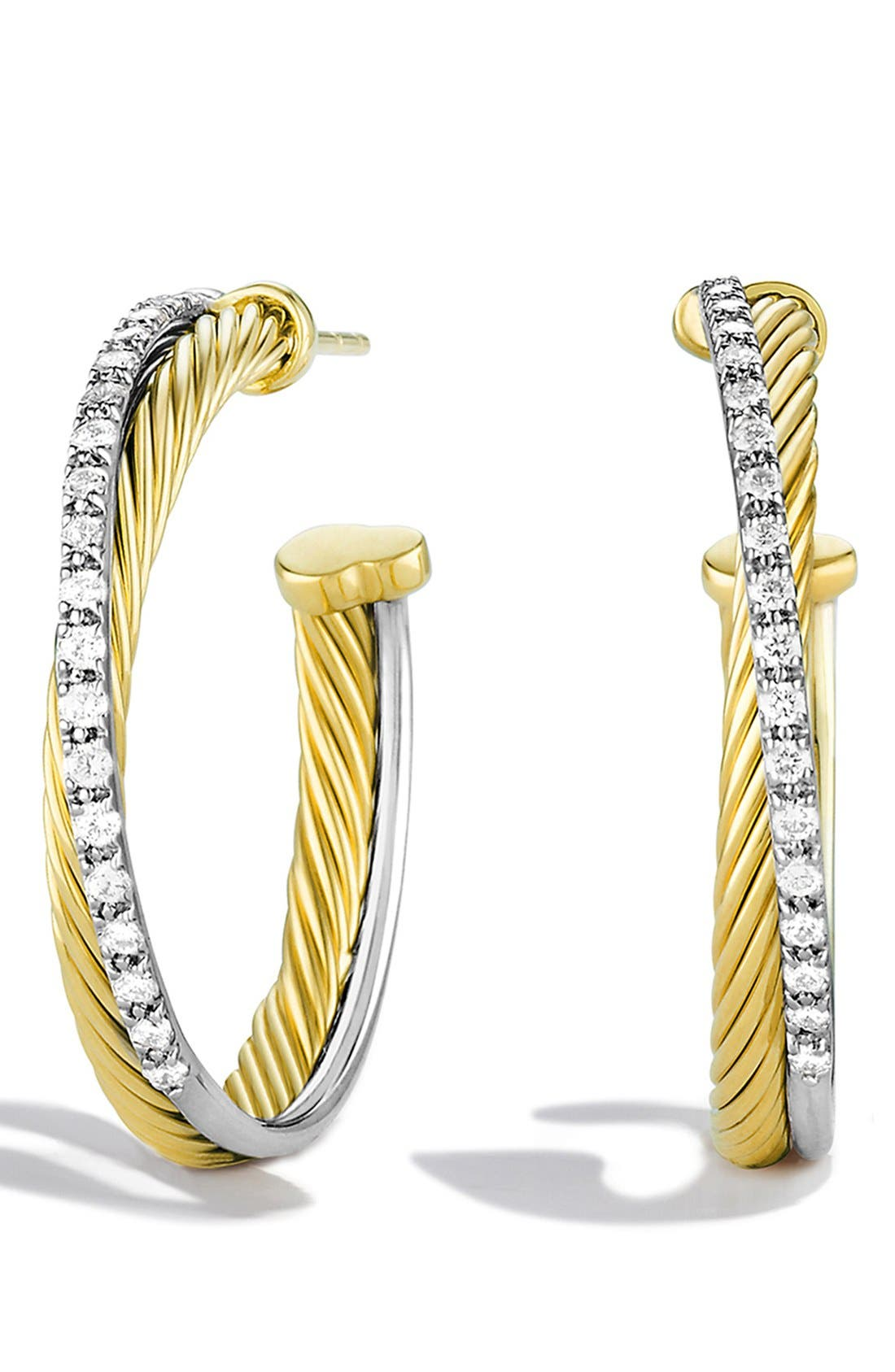 Alternate Image 1 Selected - David Yurman 'Crossover' Medium Hoop Earrings with Diamonds in Gold
