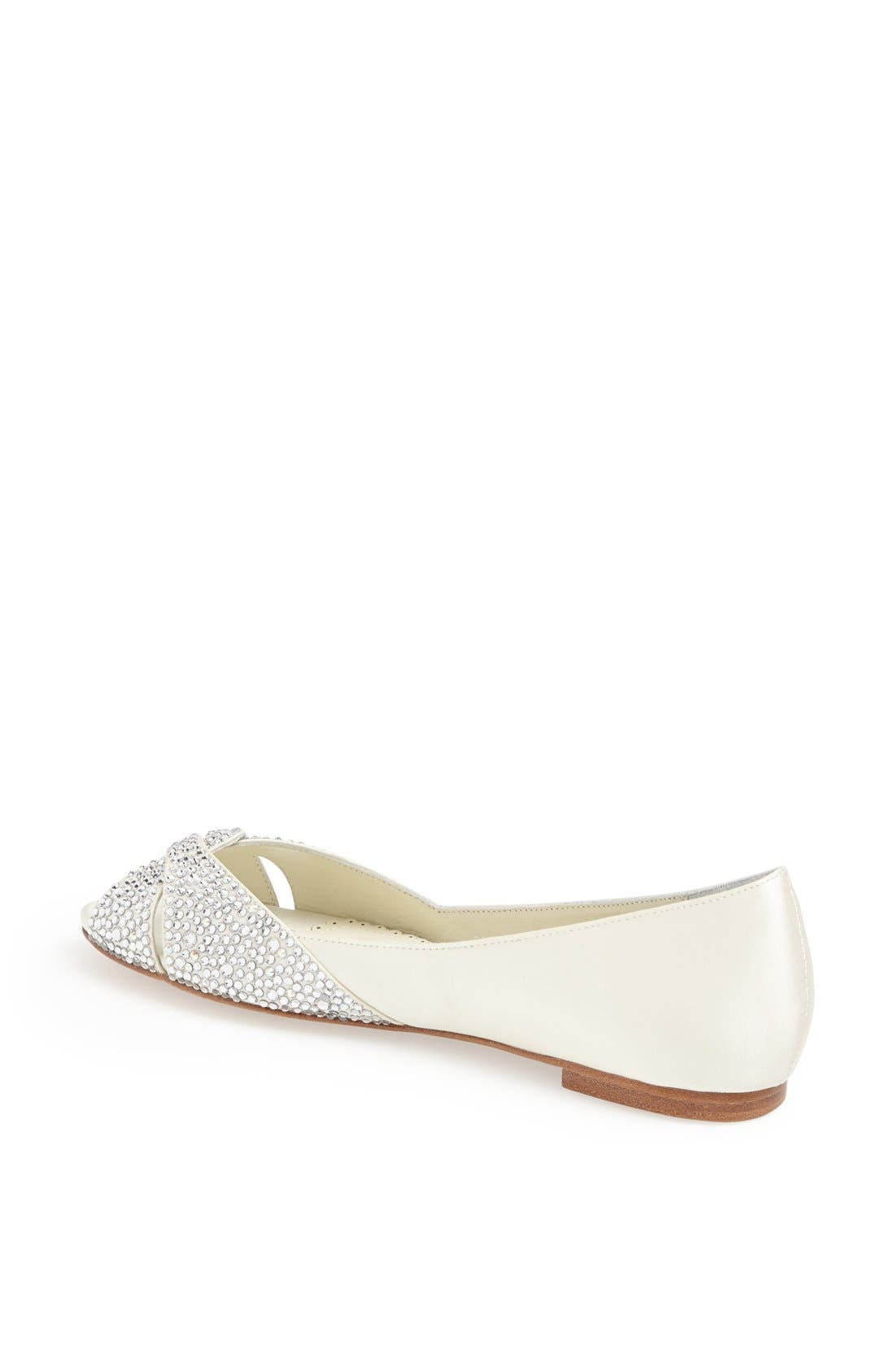 'Andie' Crystal Embellished Peep Toe Flat,                             Alternate thumbnail 2, color,                             Ivory