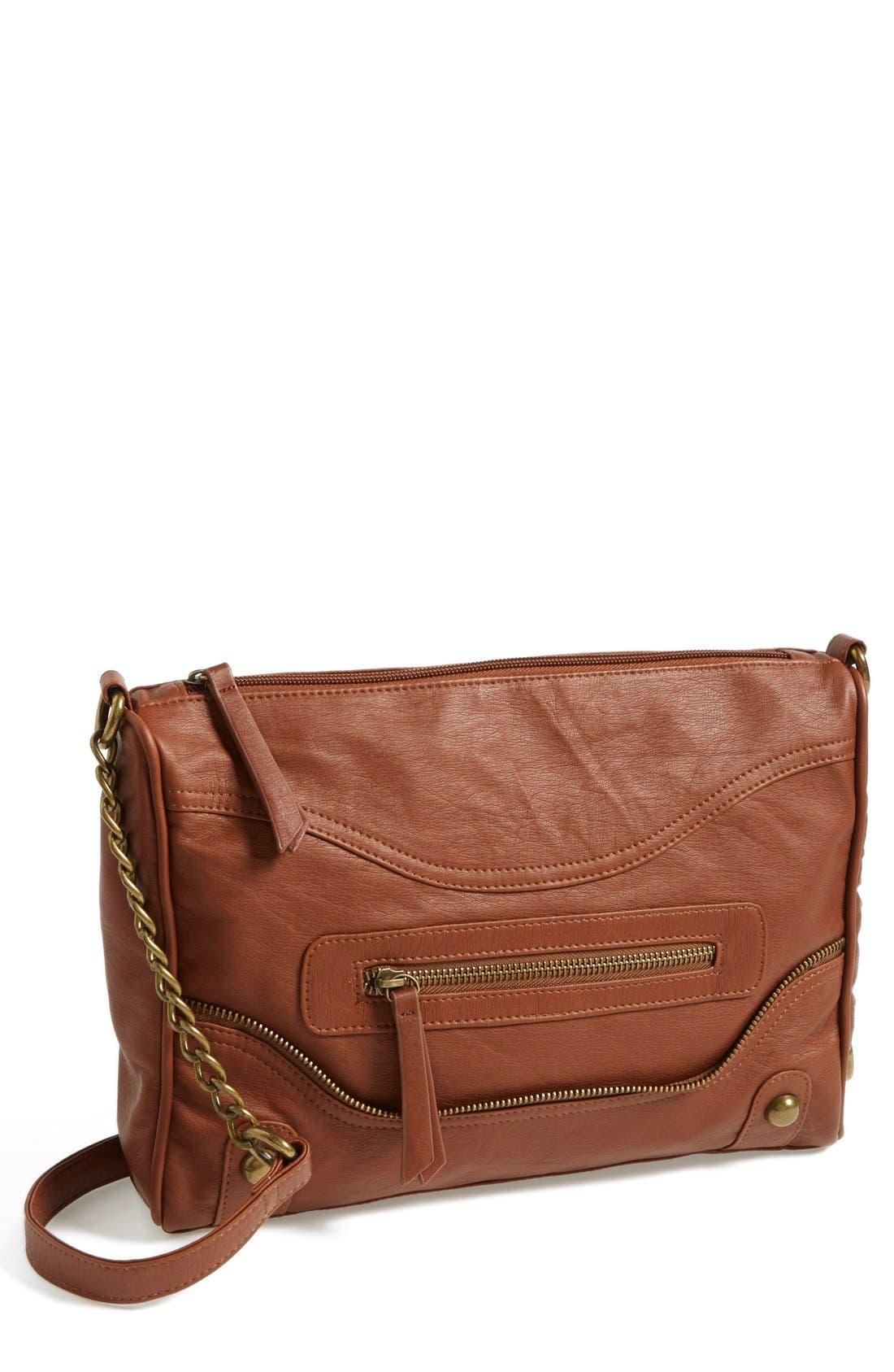 Alternate Image 1 Selected - KENDALL + KYLIE Madden Girl Zip Detail Crossbody Bag (Juniors)