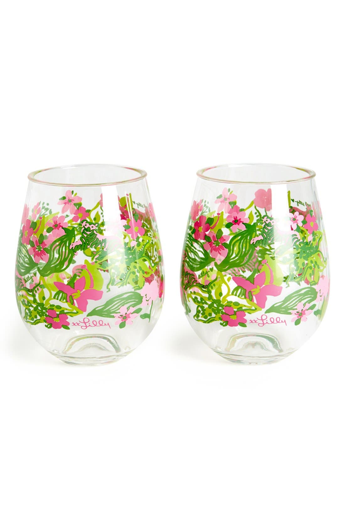 Alternate Image 1 Selected - Lilly Pulitzer® Stemless Wine Glasses (Set of 2)