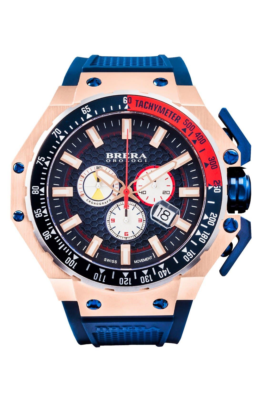 Main Image - Brera 'Gran Turismo' Chronograph Silicone Strap Watch, 54mm