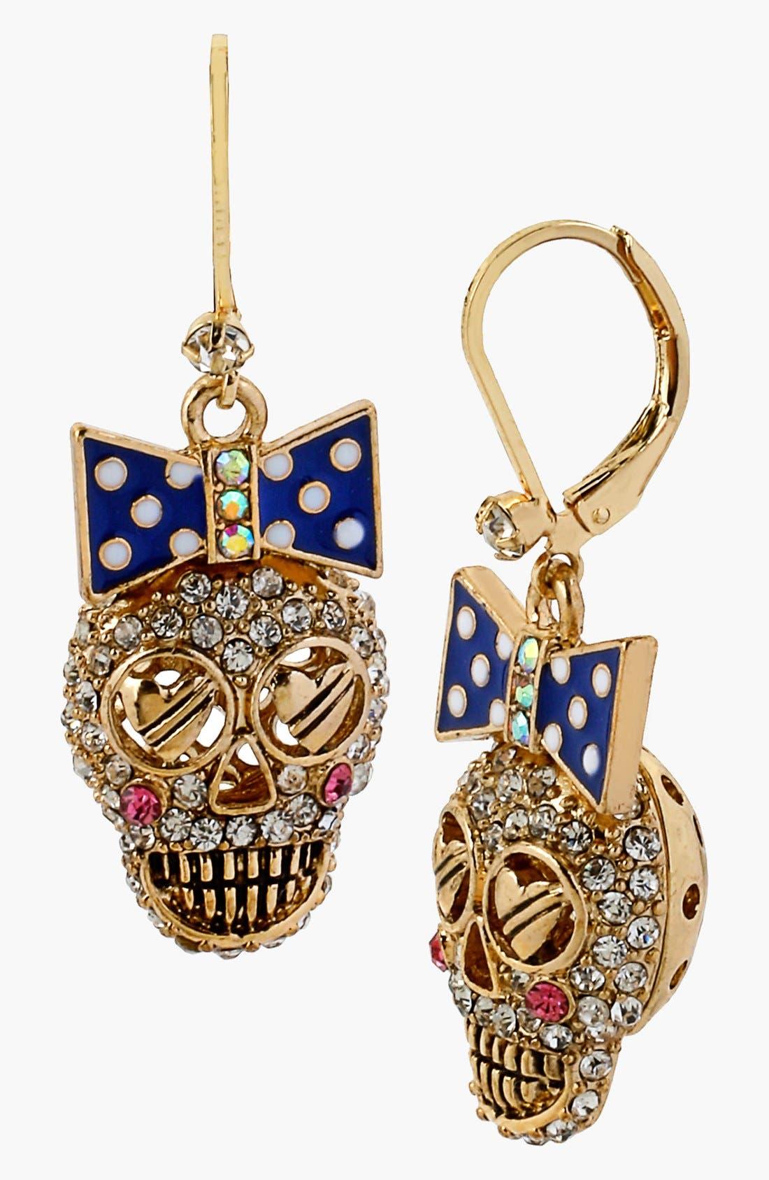 Main Image - Betsey Johnson 'Anchor Boost' Skull Drop Earrings