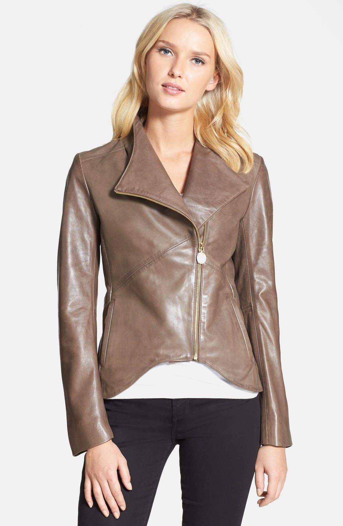 Main Image - Elie Tahari 'Beverly' Curved Hem Leather Jacket