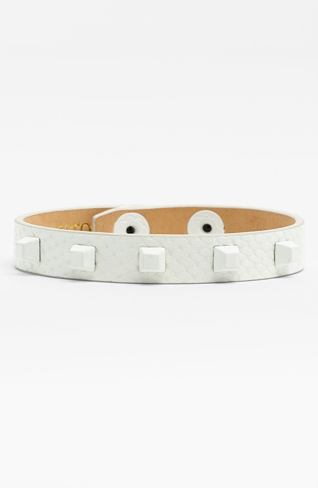 Studded Leather Bracelet,                         Main,                         color, White/ Matte White