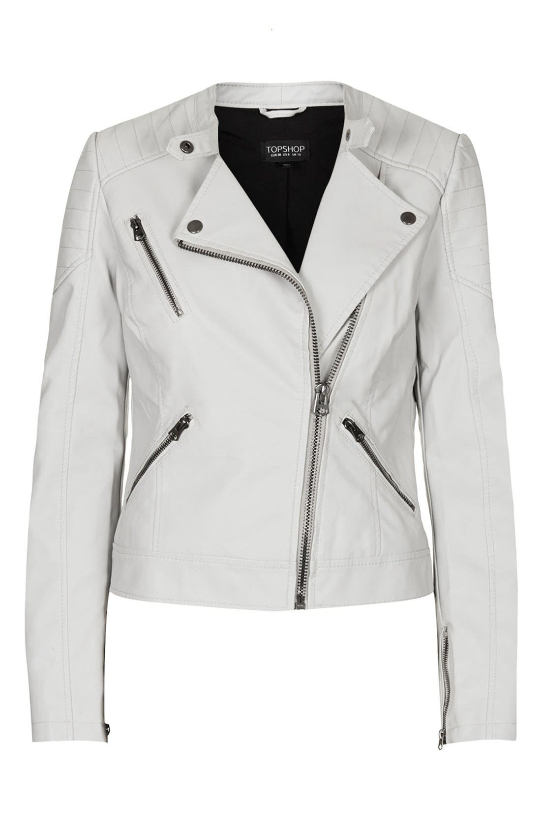 Alternate Image 3  - Topshop Faux Leather Biker Jacket