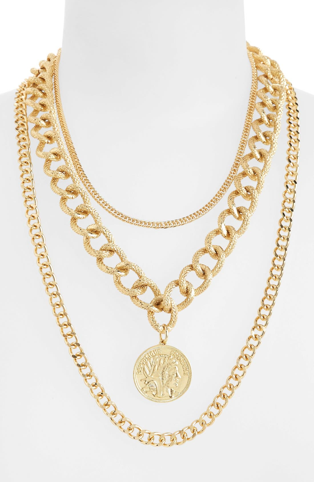 Alternate Image 1 Selected - Topshop Multi Row Chunky Chain Necklace